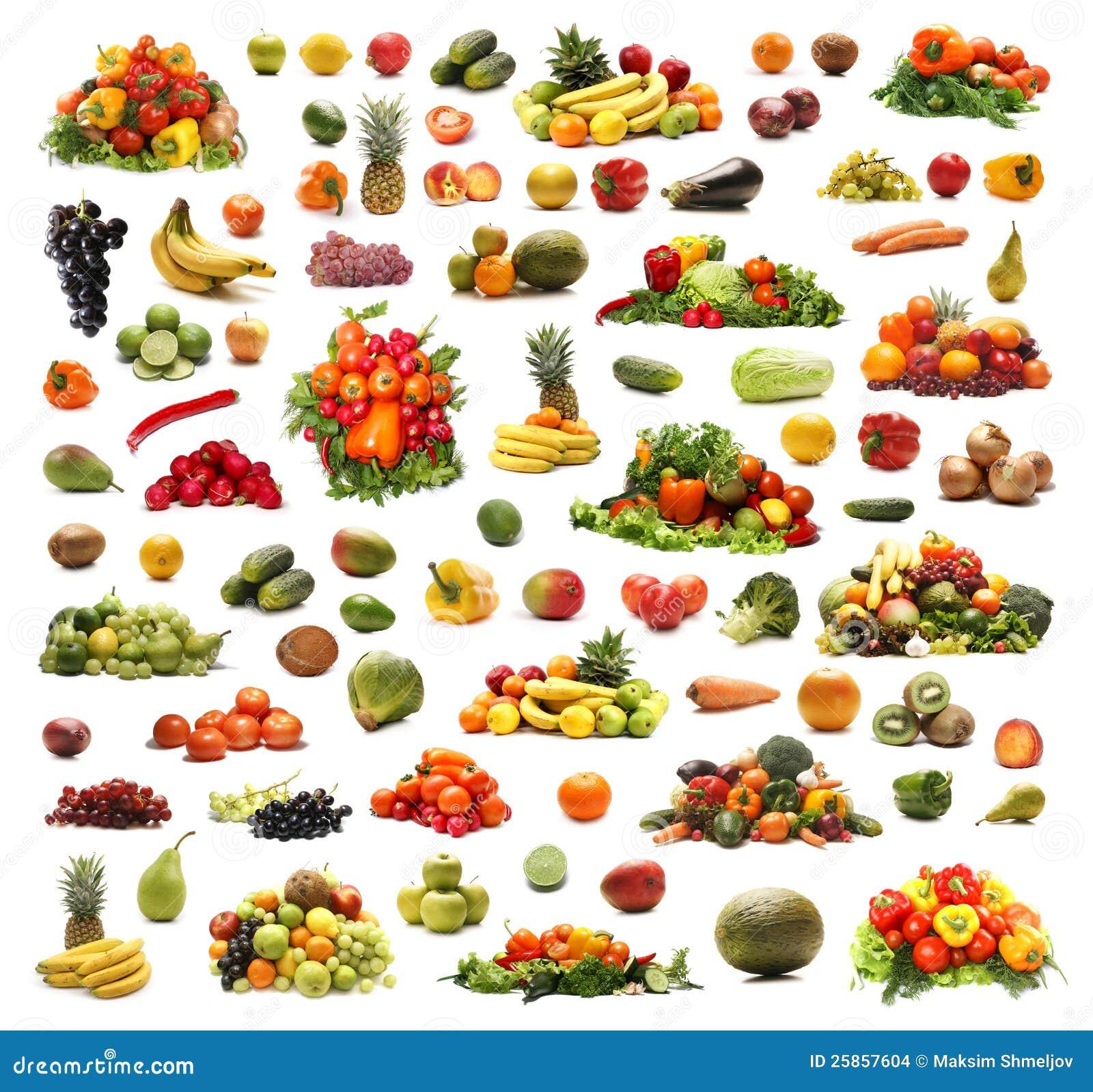Een collage van vele verschillende vruchten en groenten