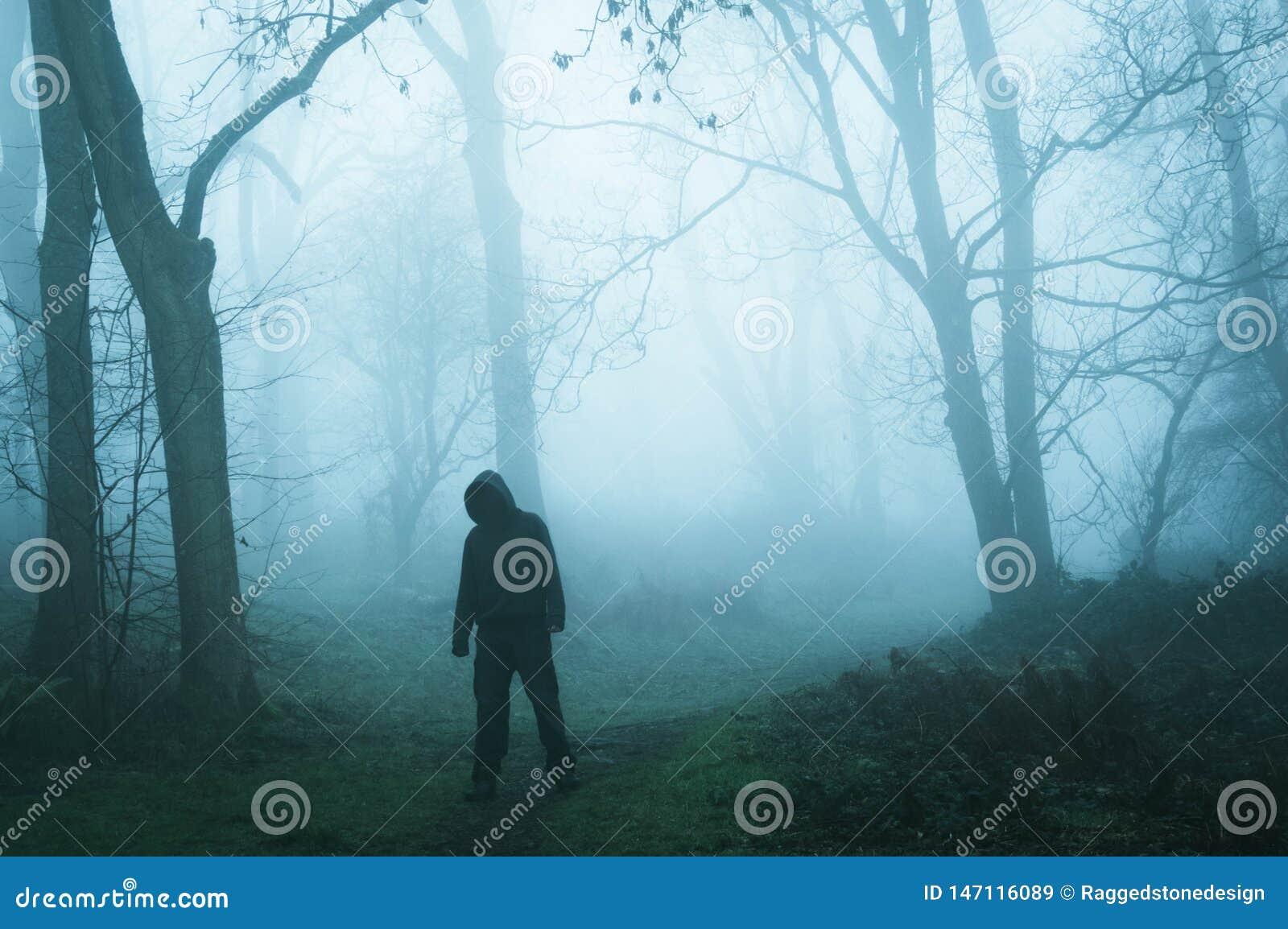 Een concept geeft van een angstaanjagend griezelig cijfer zonder een gezicht uit, die zich in een mistig de wintersbos bevinden