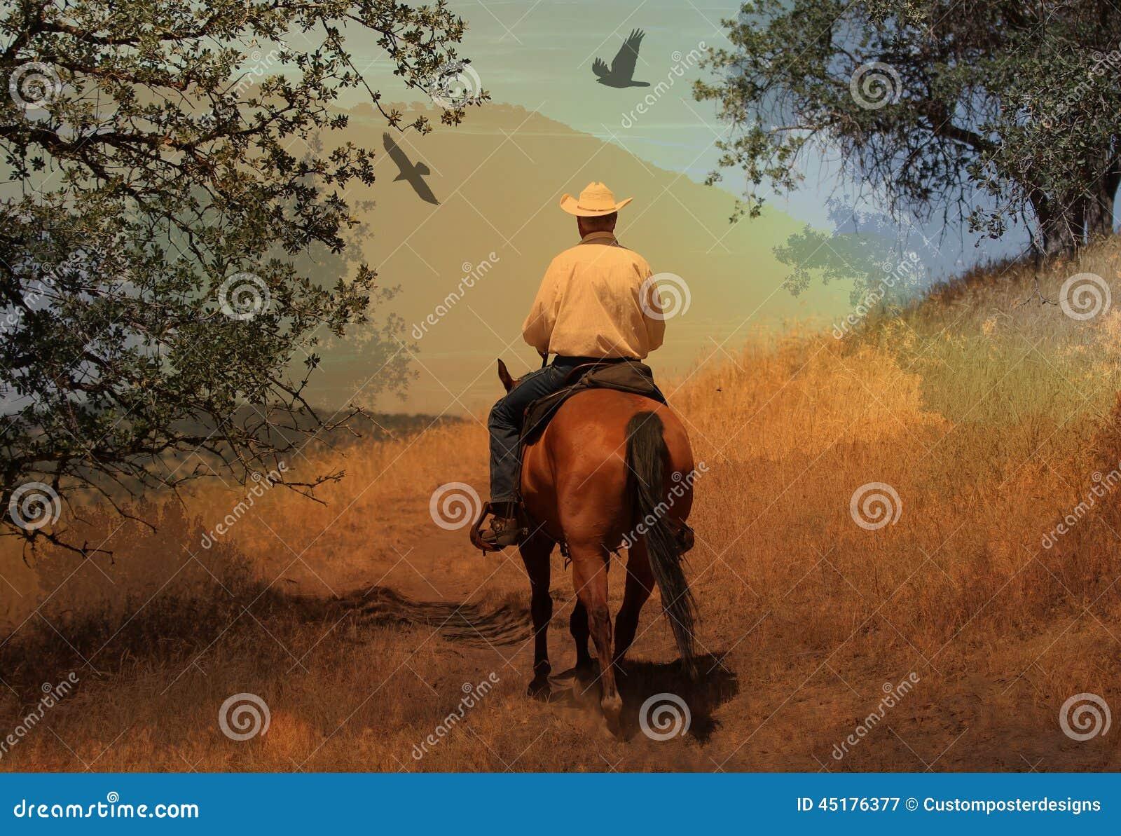 Een cowboy die in een bergsleep berijden met eiken bomen