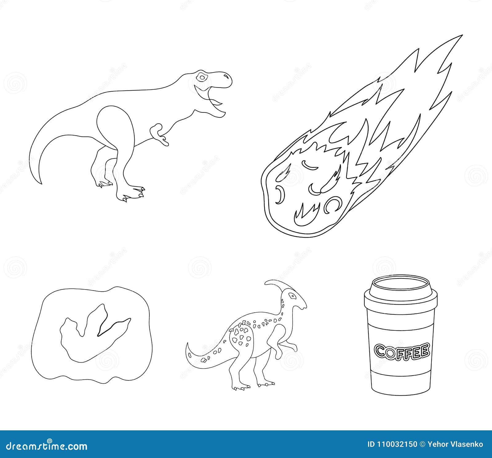 Een dalende meteoriet, parasaurolophus, tyrannosaurus, een afdruk van een dinosaurus` s voet De dinosaurus en de voorhistorische