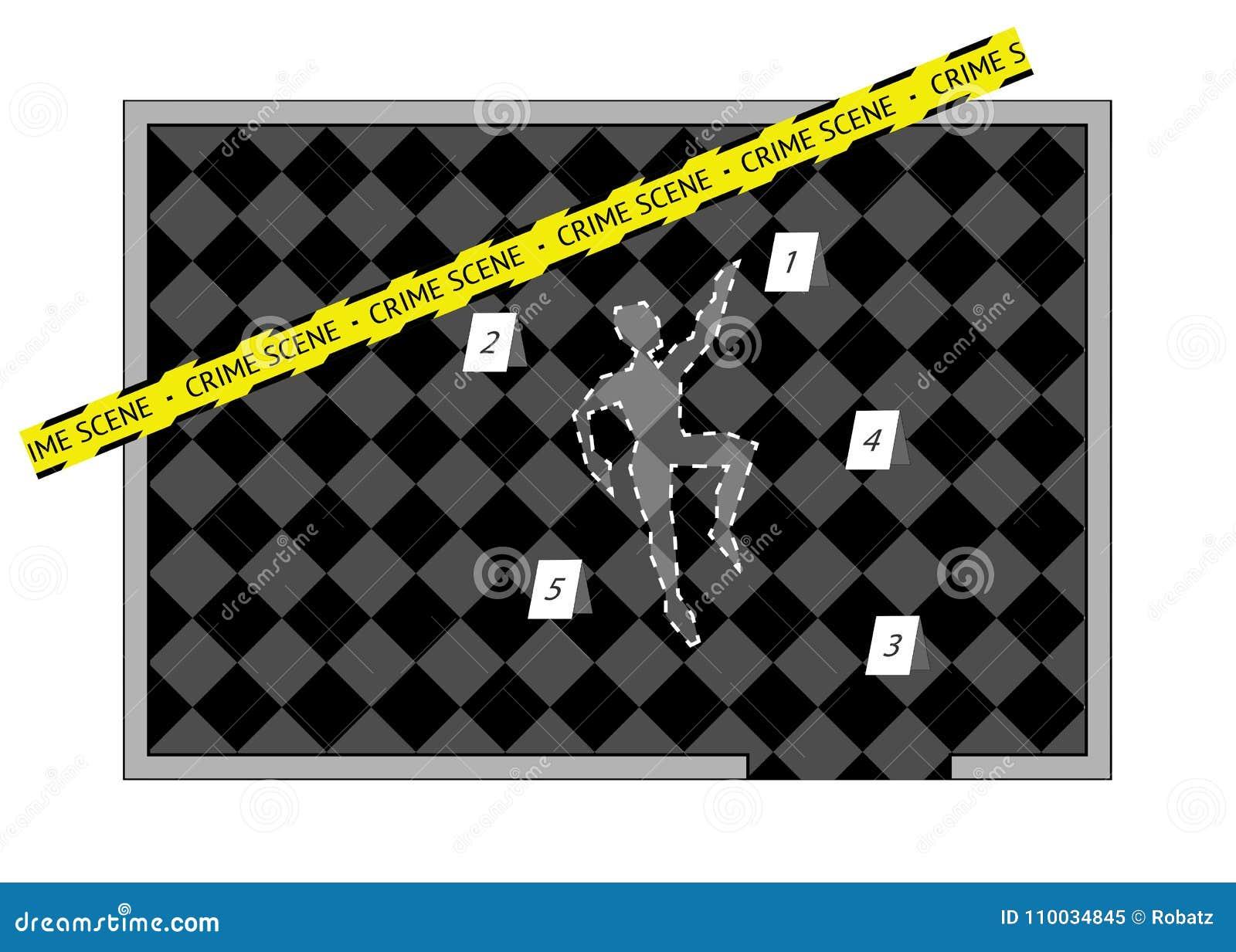 Een de geïsoleerd lichaamsoverzicht met de band en aantallen van de misdaadscène,