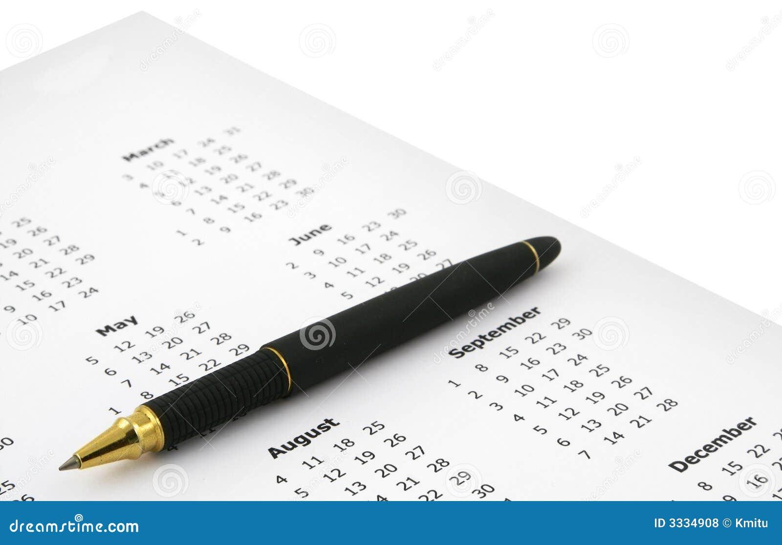 Een deel van jaarlijkse kalender