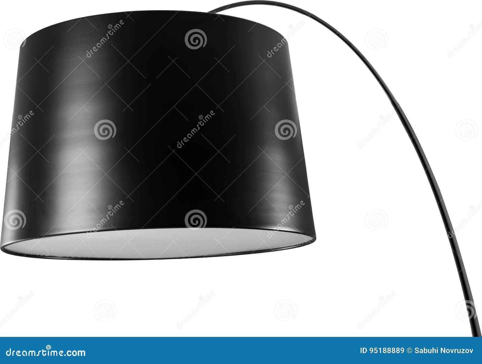 Een dichte omhoog gedeeltelijke mening van een zwarte staande lamp