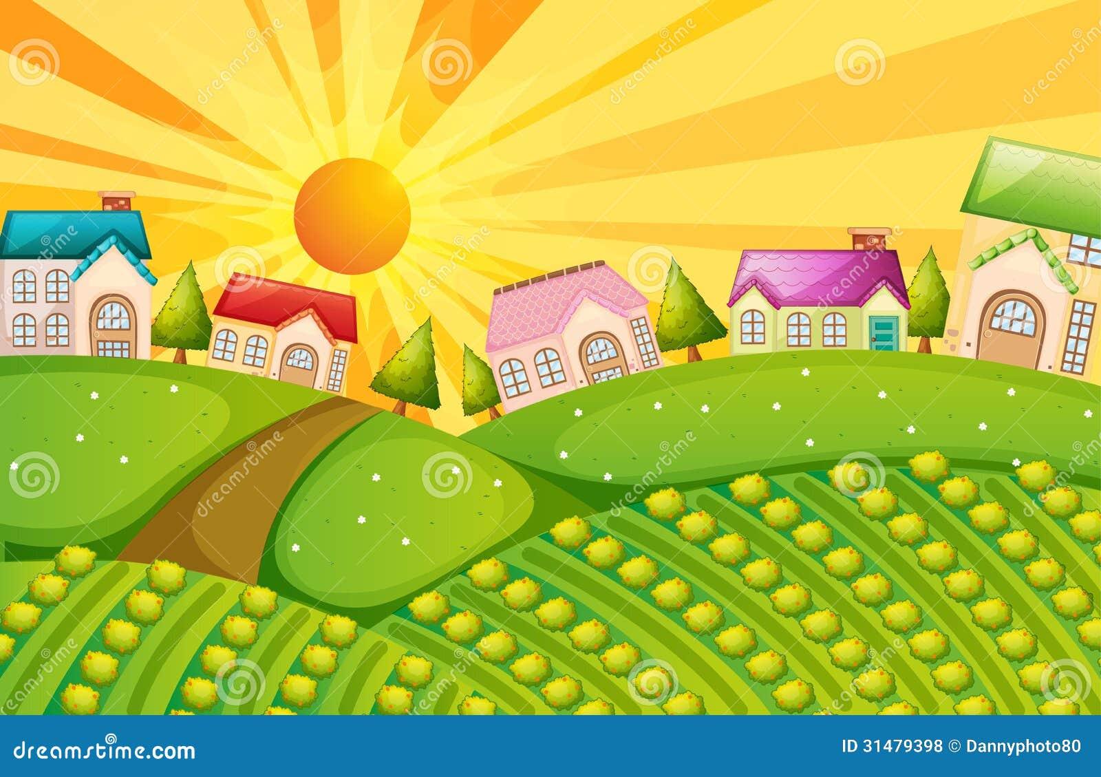 Een dorp met landbouwbedrijf