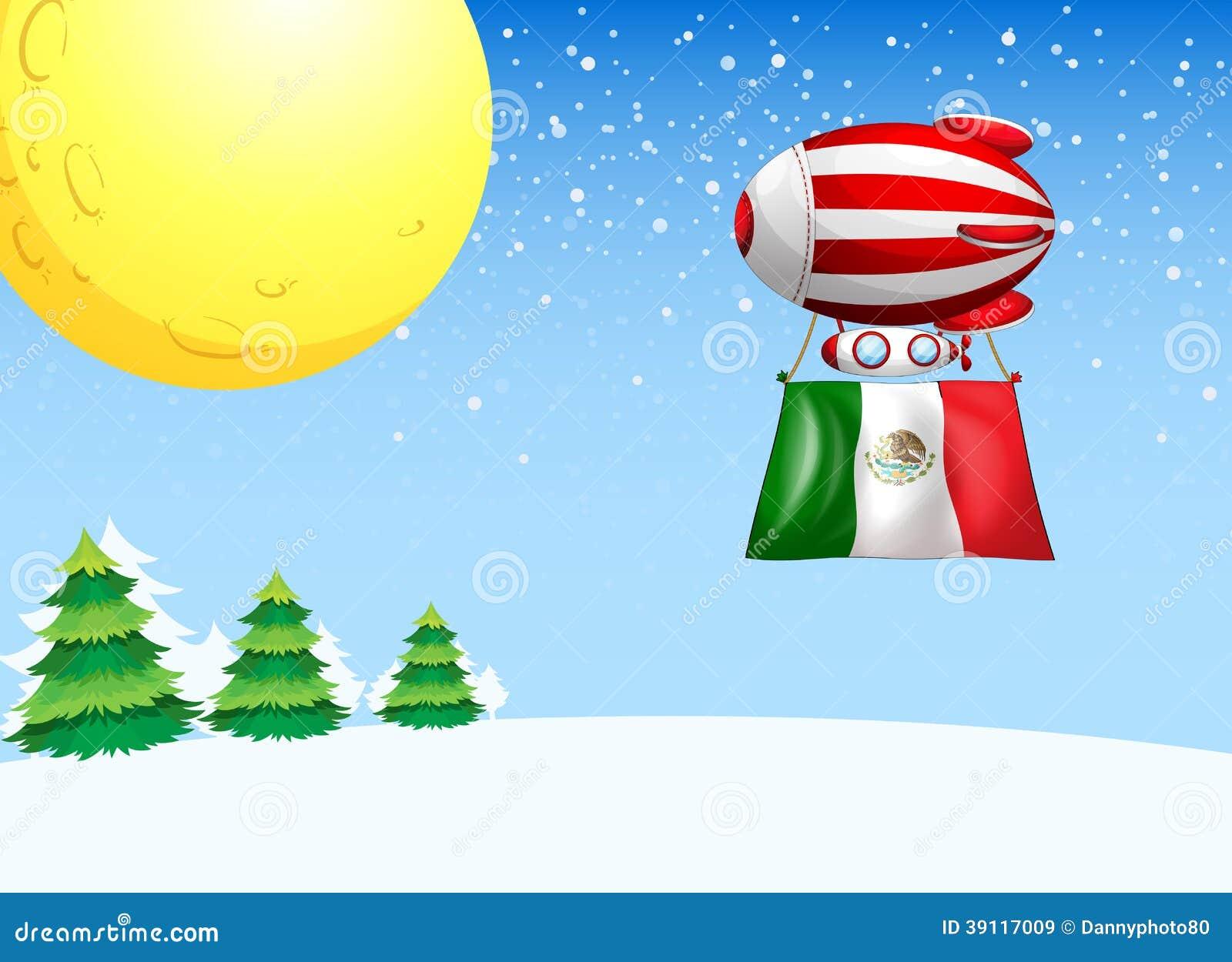 Een drijvende ballon die met de vlag van Mexico vliegen