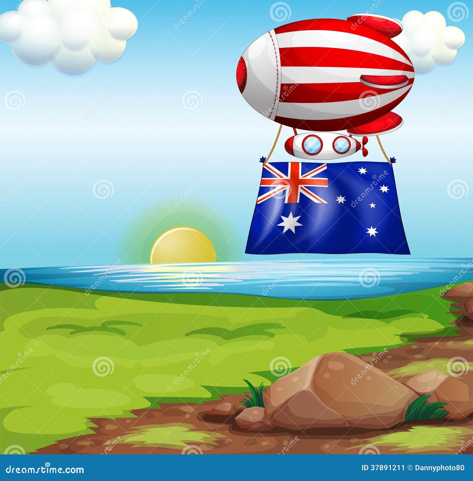 Een drijvende ballon met de vlag van Australië