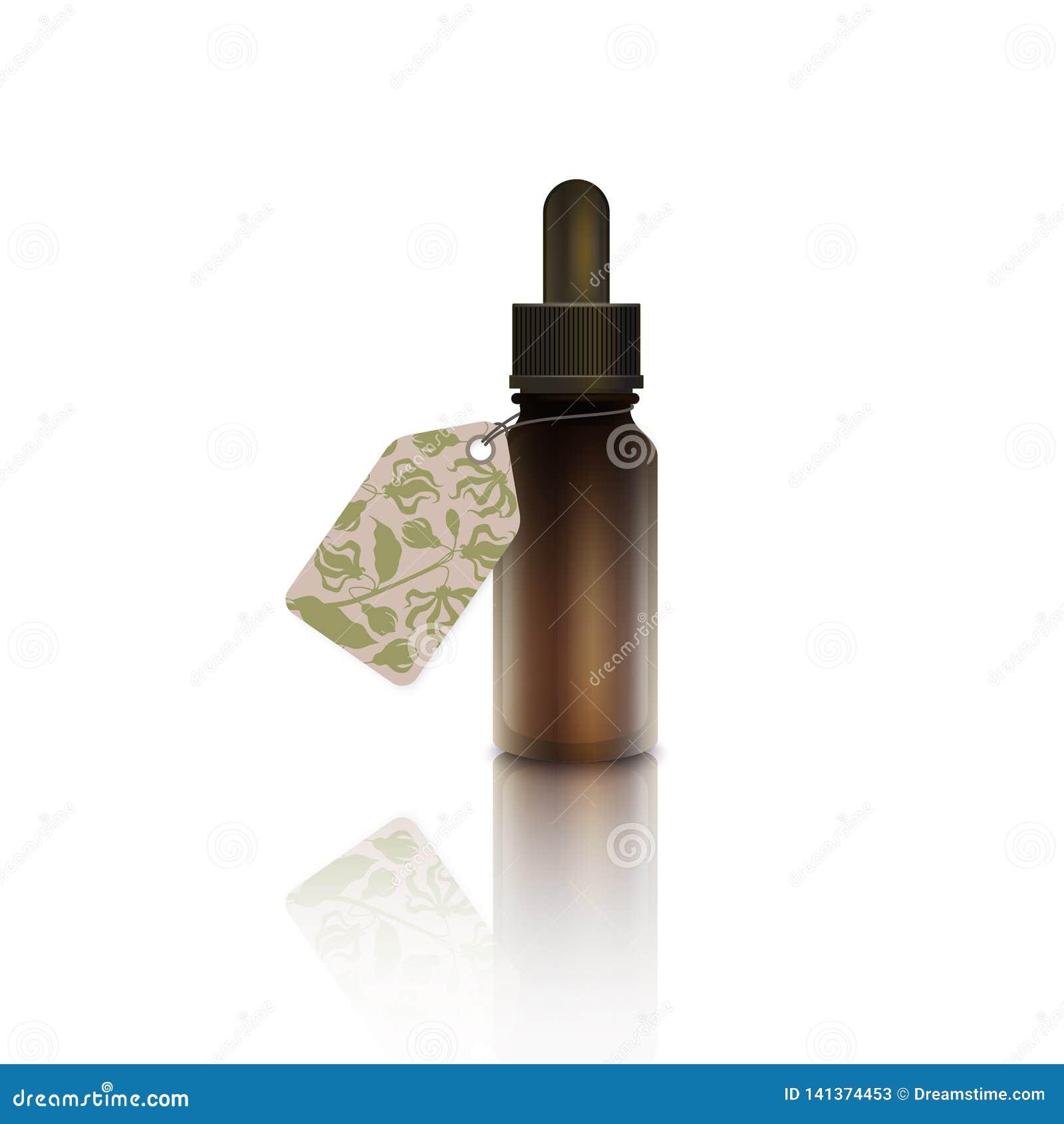 Een druppelbuisje met de etherische olie van de kananga-oliebloem
