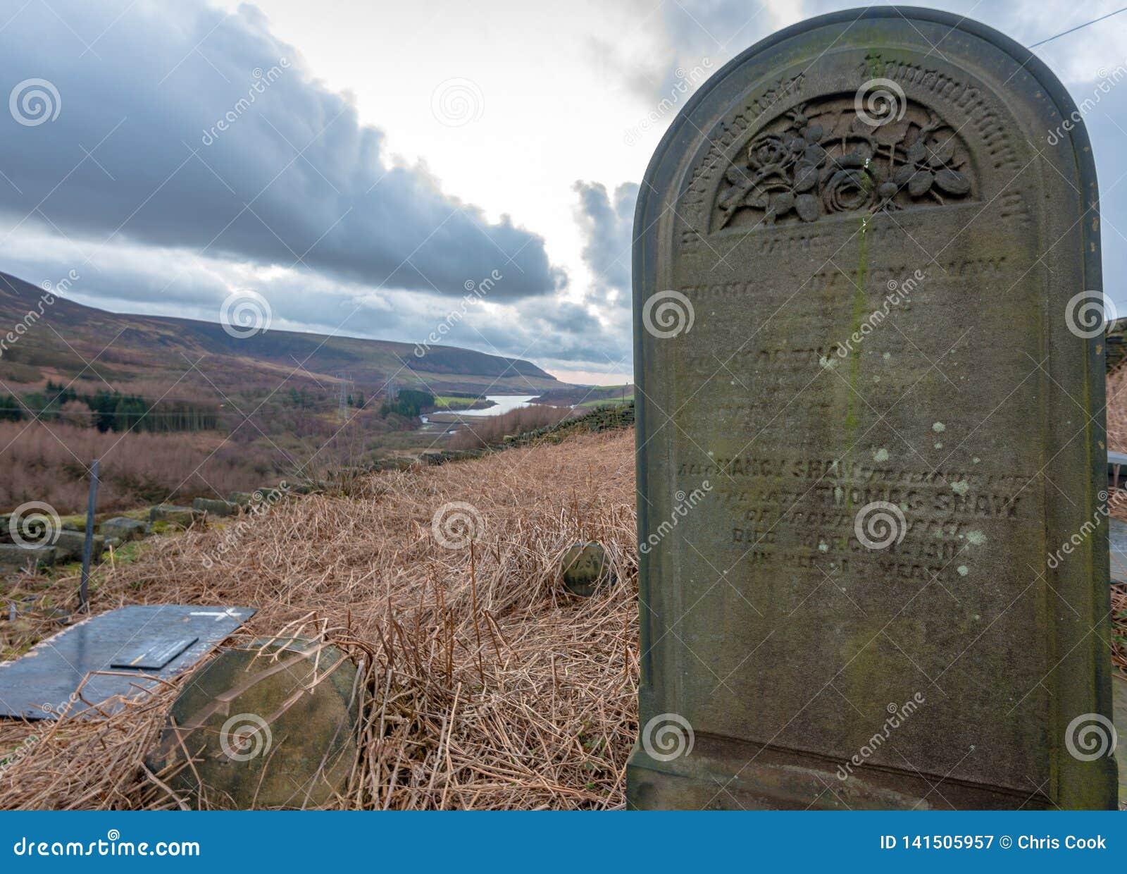Een eenzame ernstige steen zit omhoog bovenkant in het Piekdistrictsbos, het UK