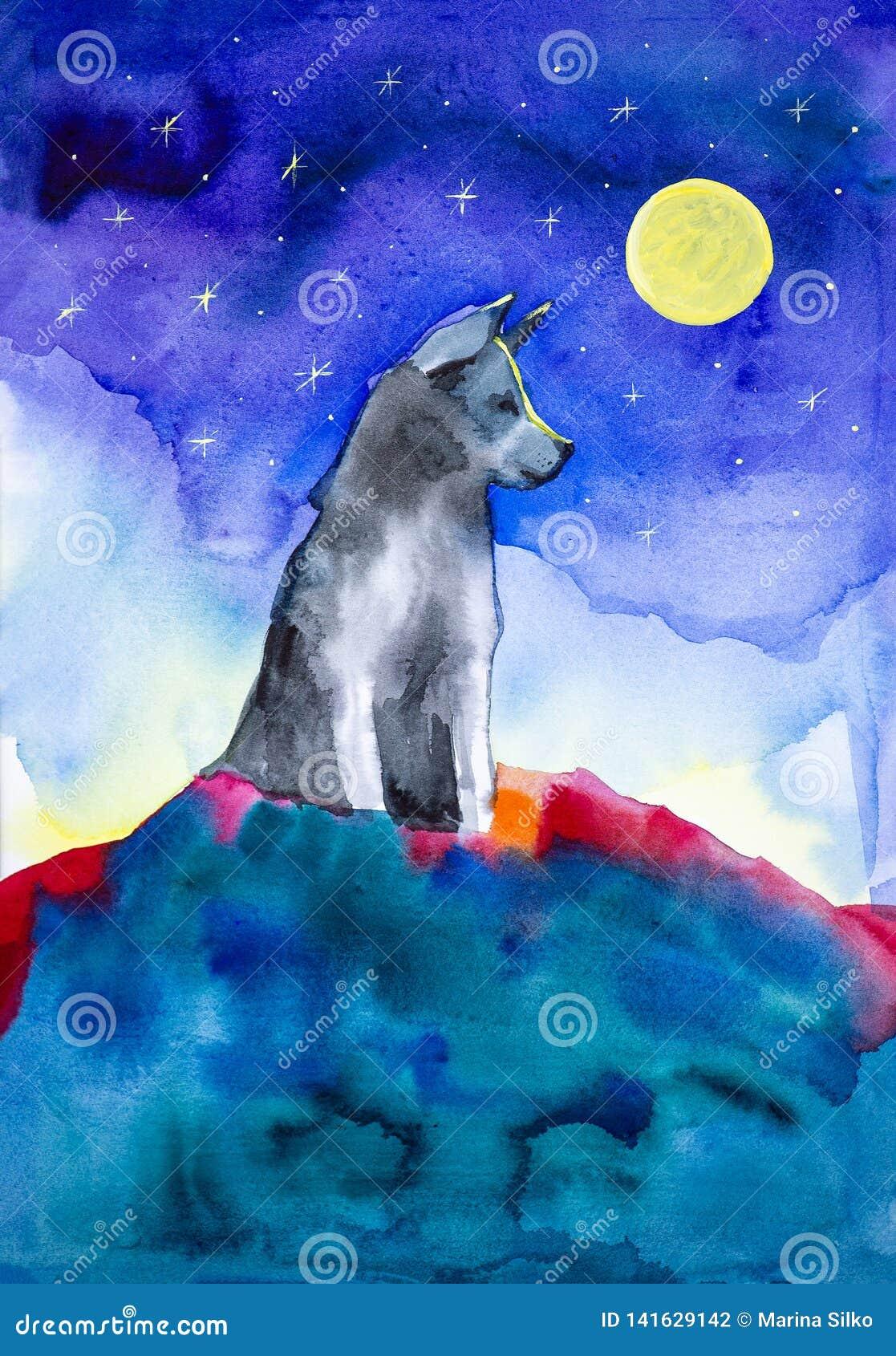 Een eenzame wolf zit bovenop een berg in het licht van een volle maan en een duidelijke sterrige hemel De illustratie van de wate