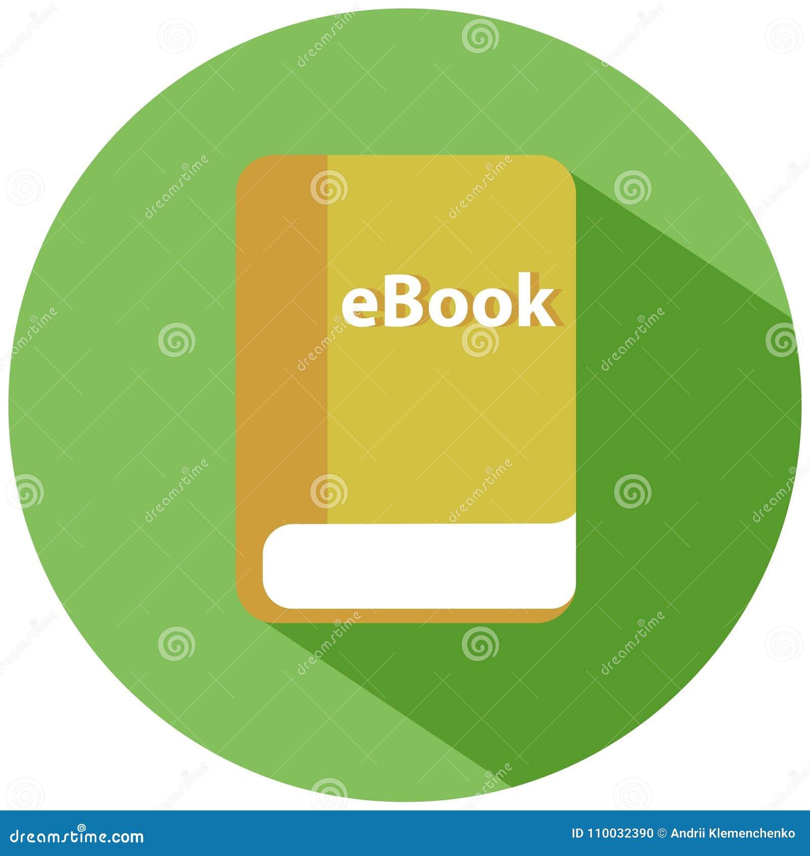 Een elektronische versie van een gedrukt boek in een groene cirkel Een gele die ebook op witte achtergrond wordt geïsoleerd Het p