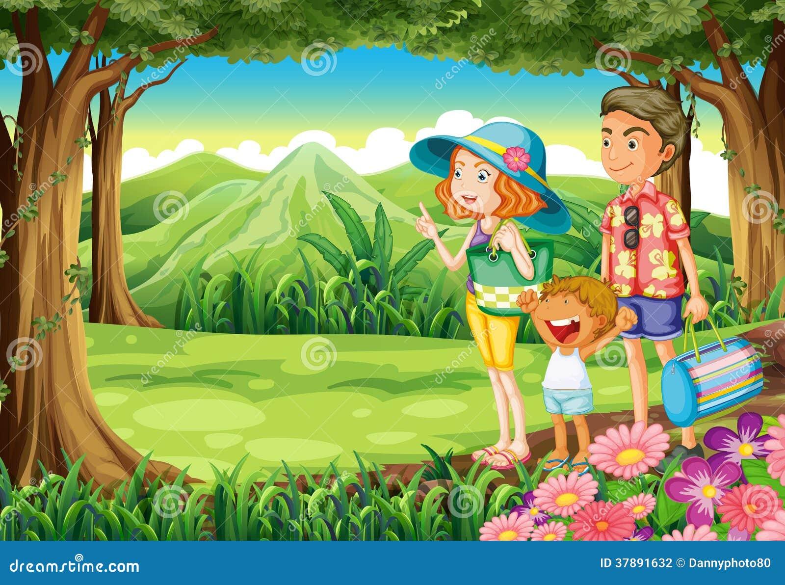 Een familie bij het bos