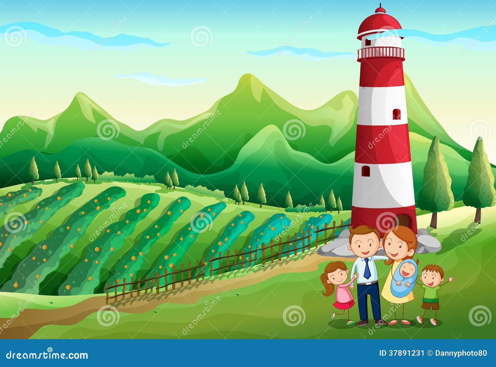 Een familie bij het landbouwbedrijf met een hoge toren