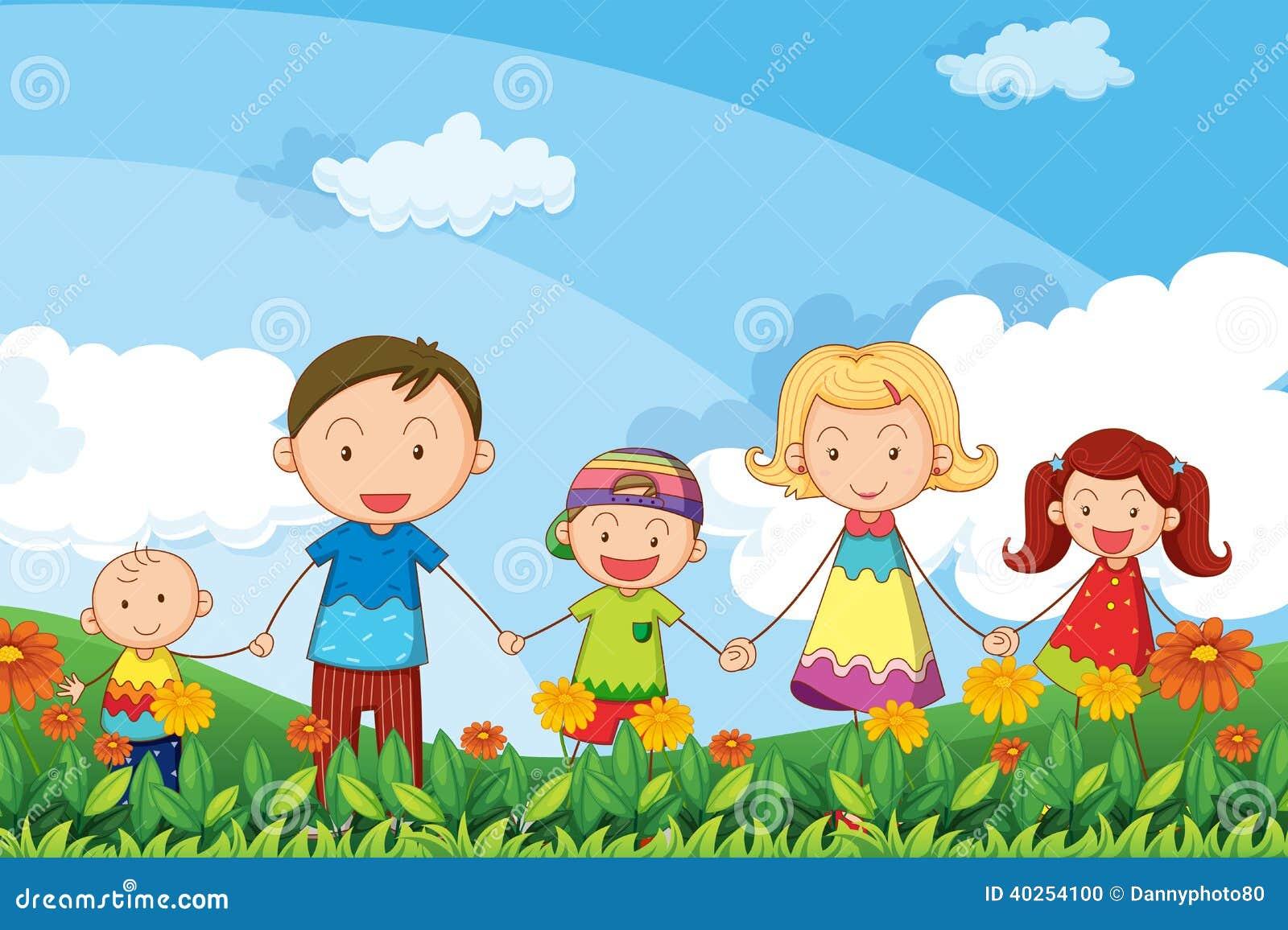 Een familie die in de tuin wandelen