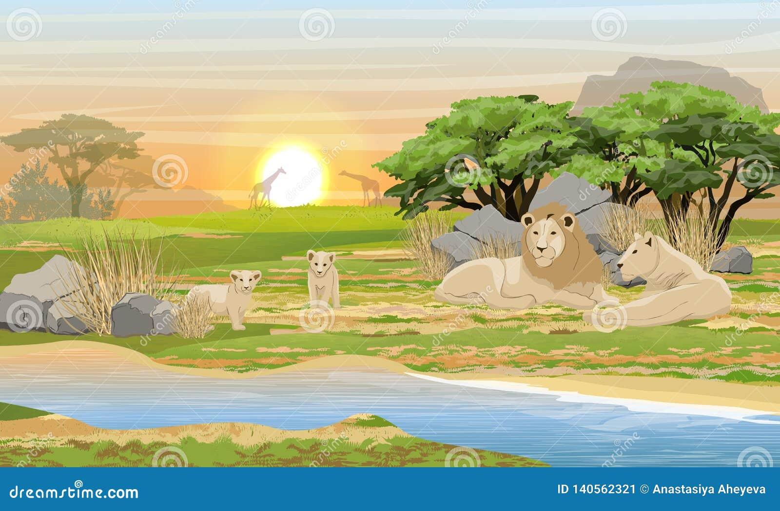 Een familie die van leeuwen dichtbij een meer in de Afrikaanse savanne rusten