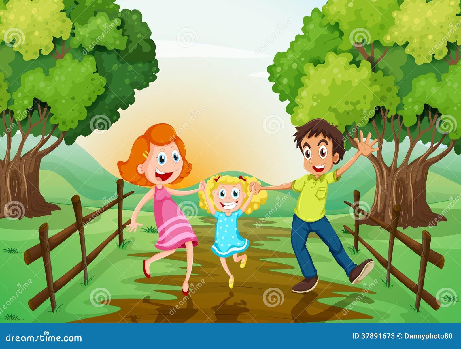 Een gelukkige familie bij het hout