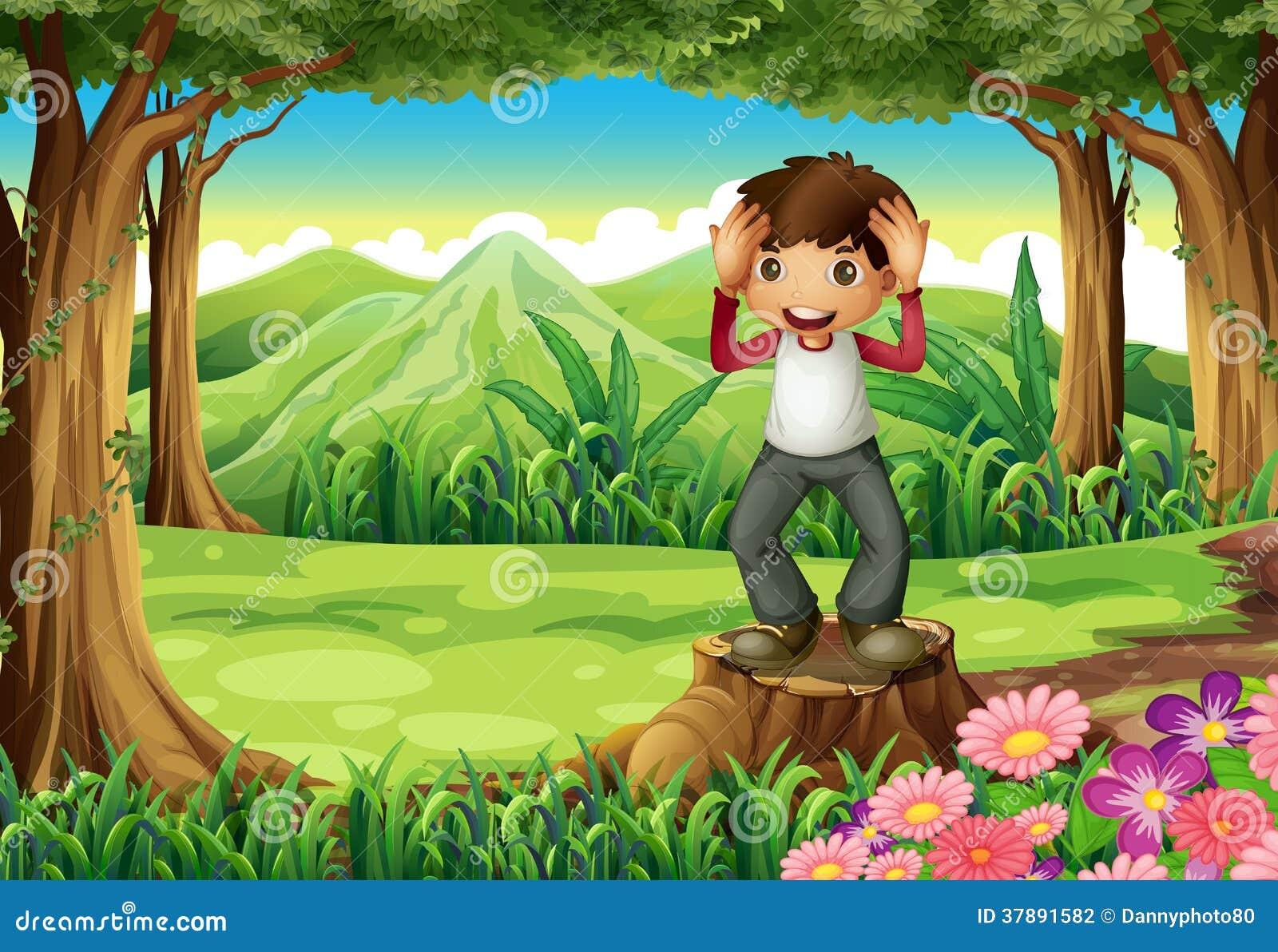 Een gelukkige jongen boven de stomp bij het bos