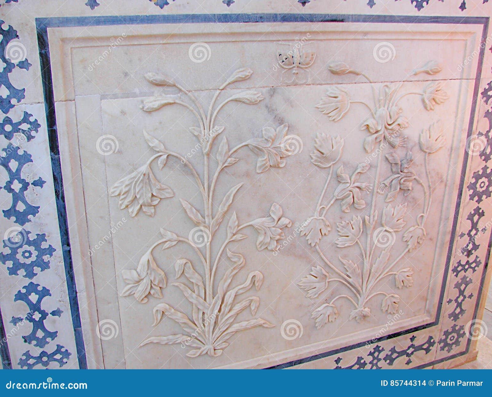 Een Gesierd Plafond in Amer Palace, Jaipur, Rajasthan, India