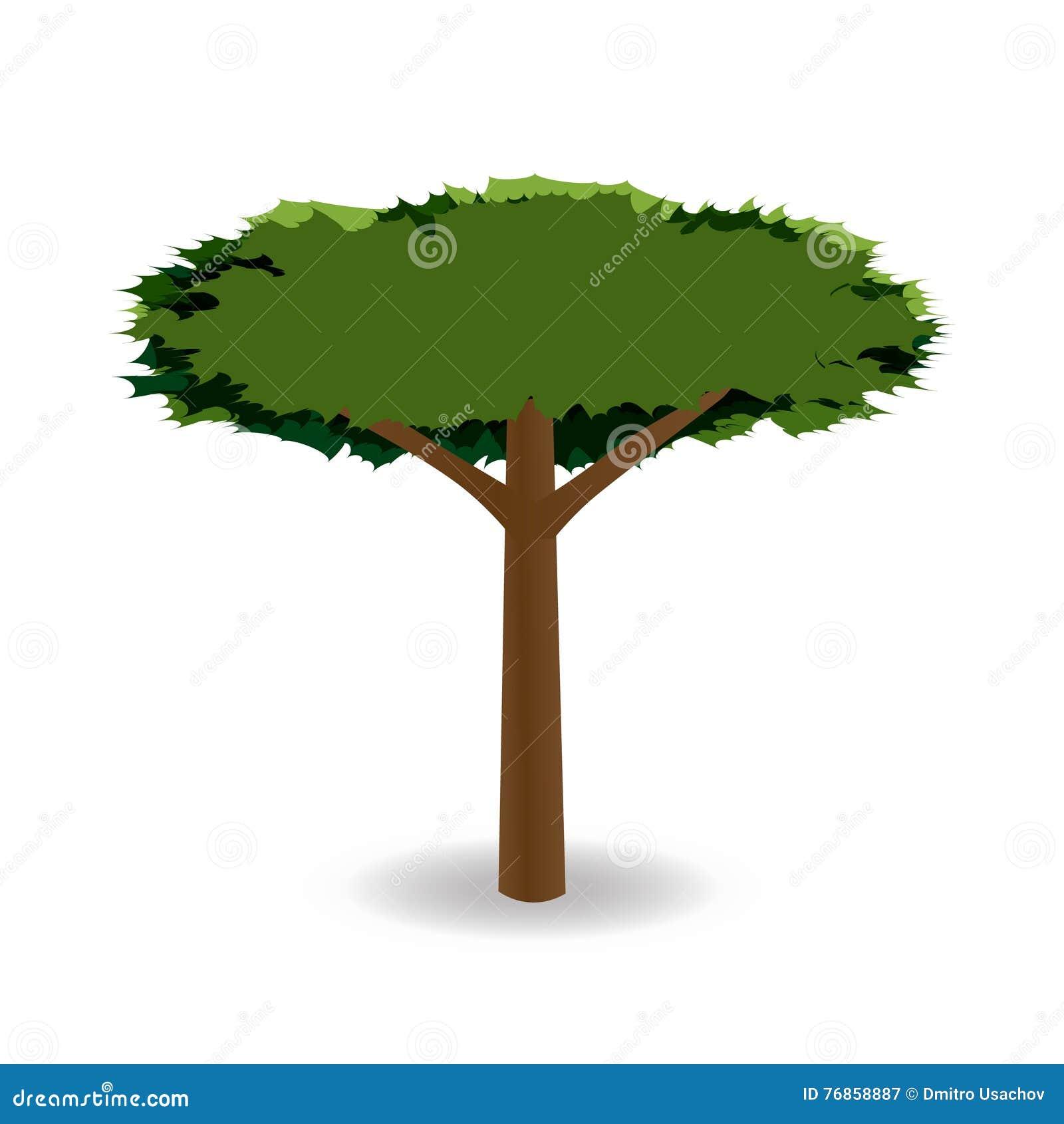 Een gestileerde tekening van een groene boom met een ronde kroon van met weerhaken illustratie - Deksel van de boom ...