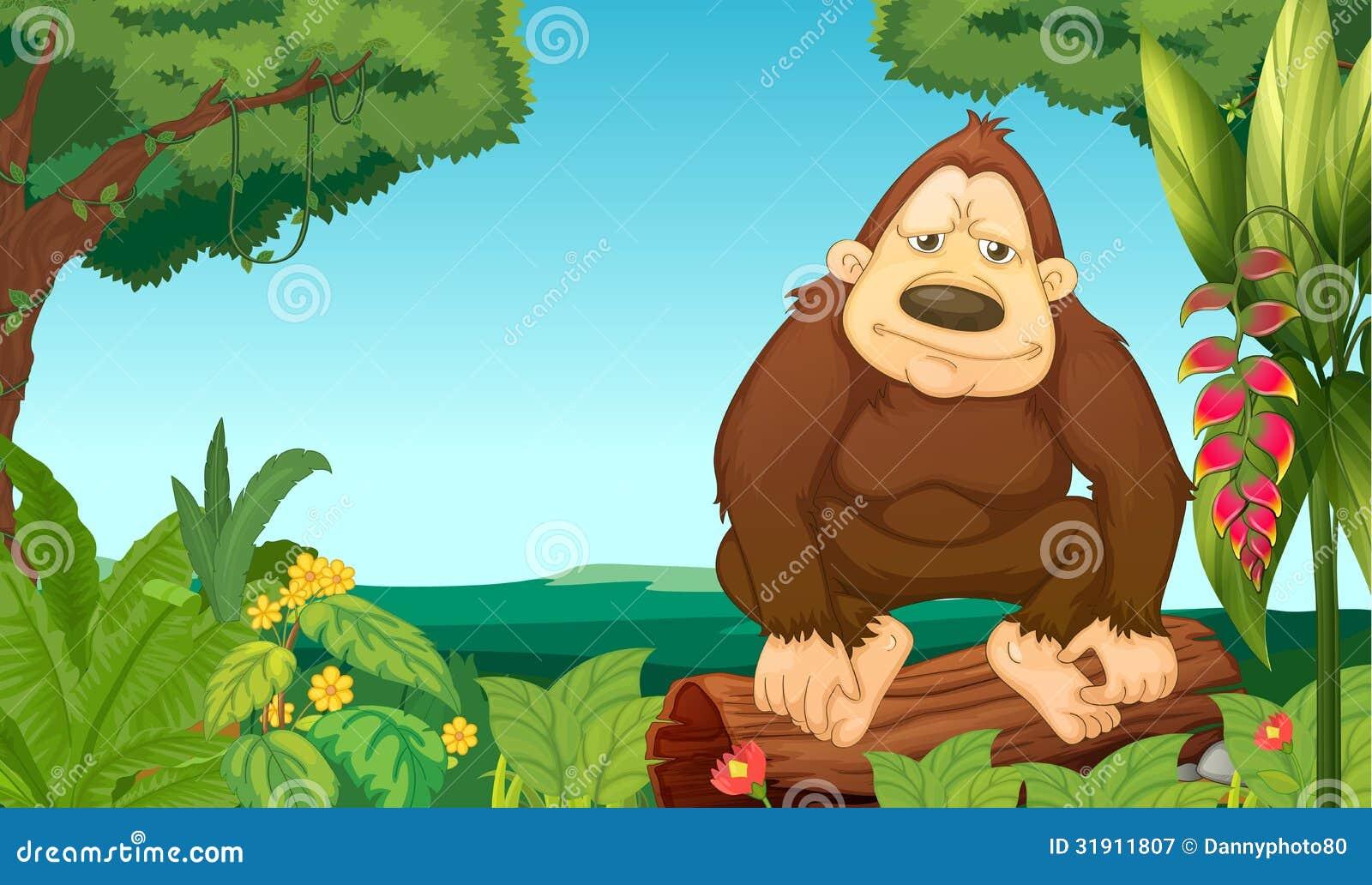 Een gorilla in het hout