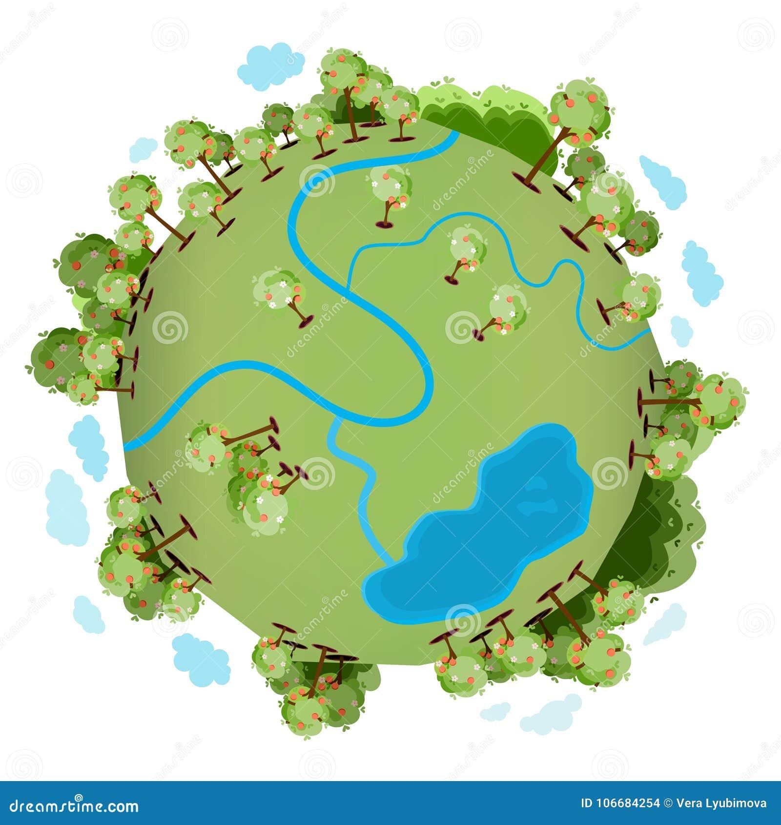 Een groene planeet met vele groene bomen
