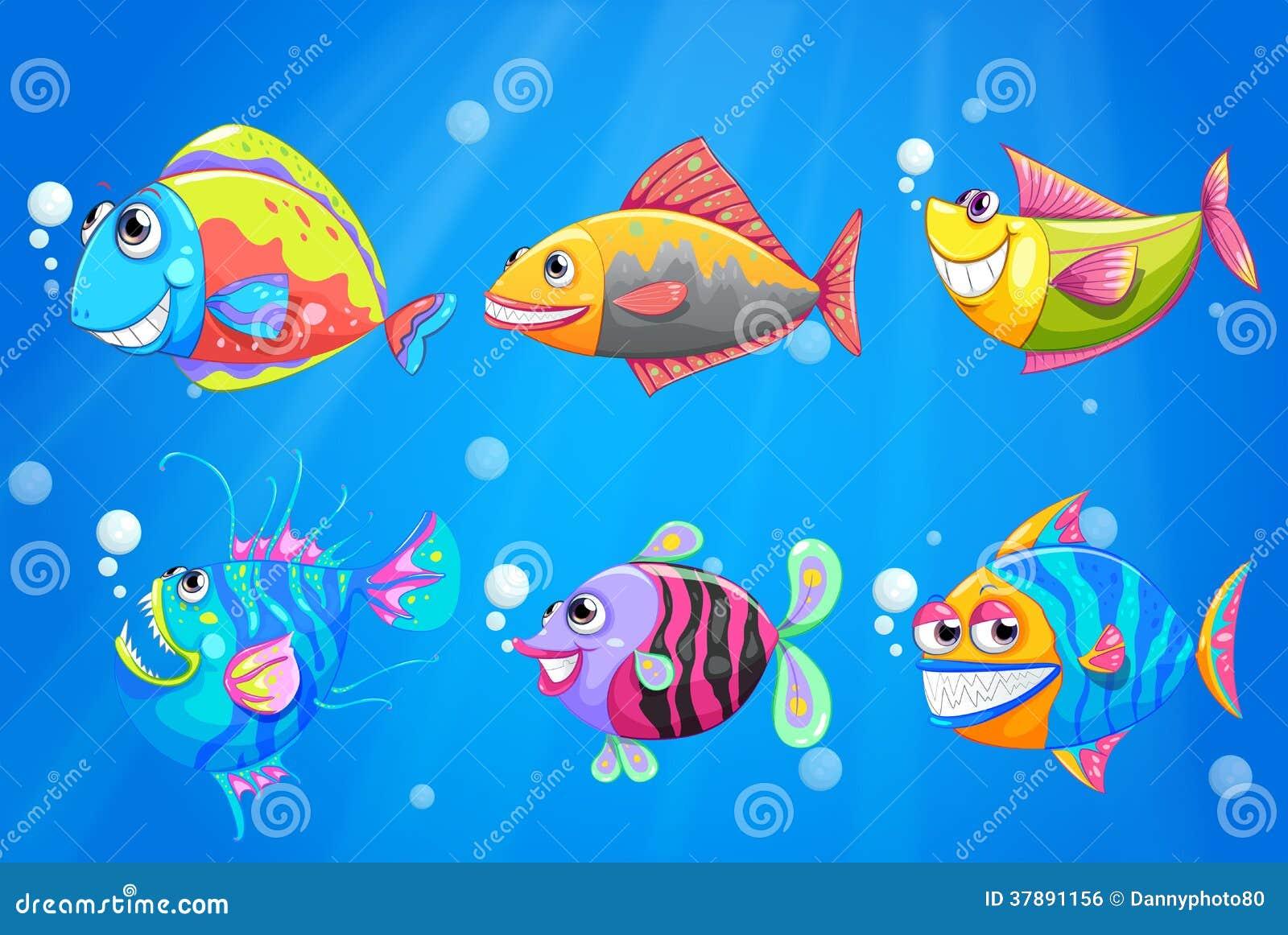 Een groep kleurrijke het glimlachen vissen