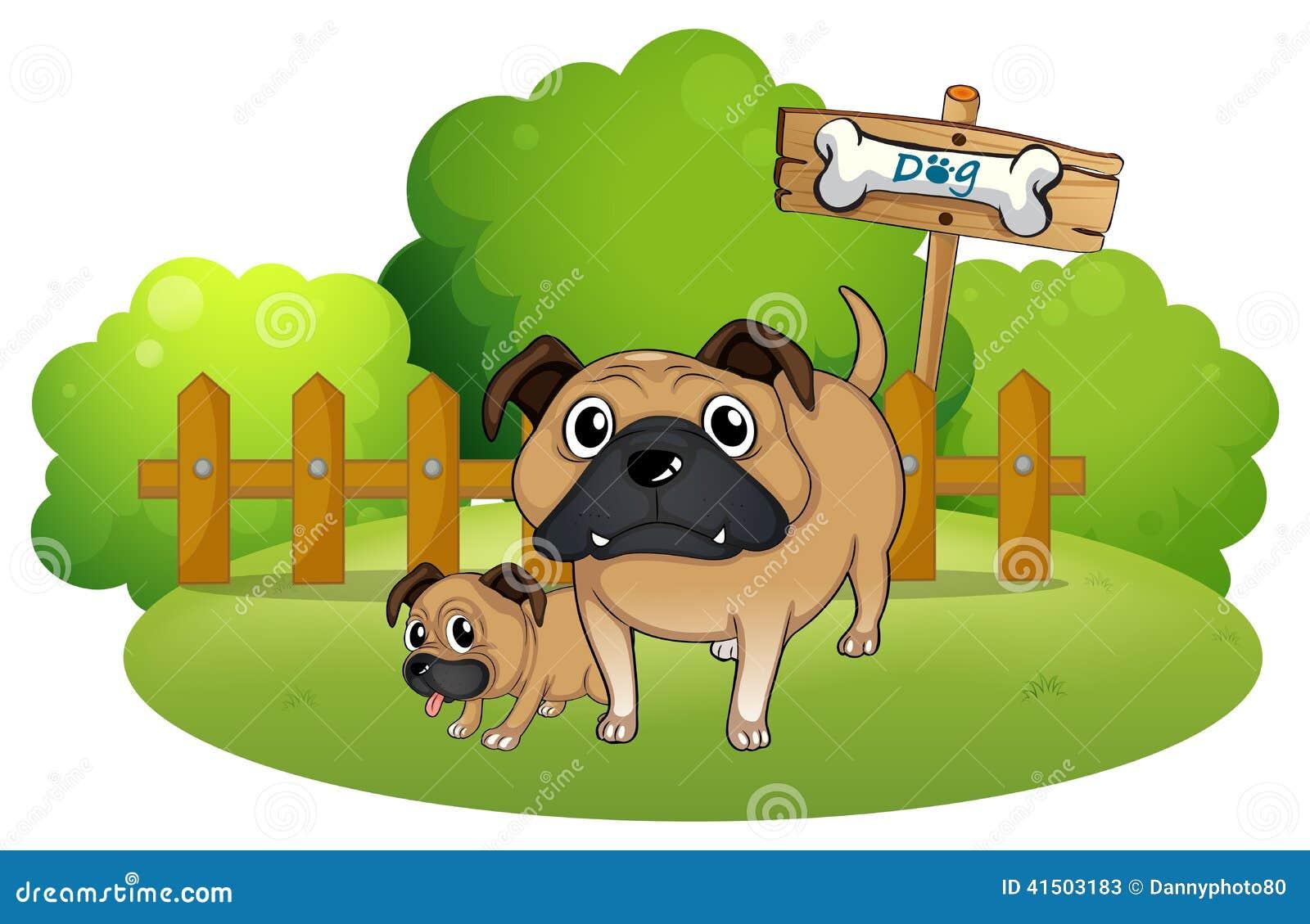 Een grote en kleine hond dichtbij het uithangbord