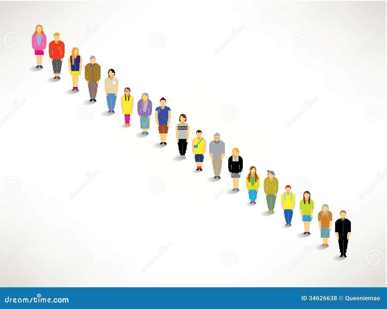Een Grote Groep samen het Een rij vormen omhoog