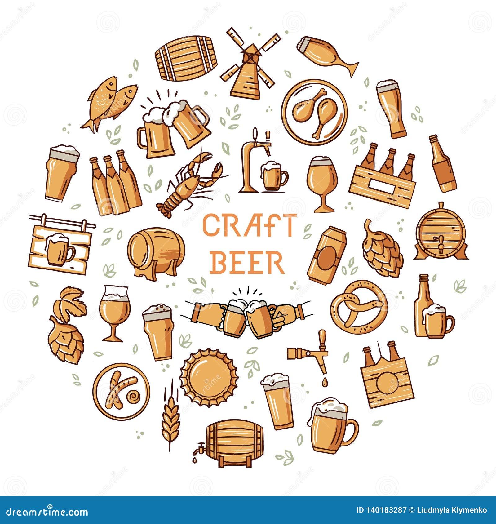 Een grote reeks kleurrijke pictogrammen op het onderwerp van bier, zijn productie en gebruik in formaat