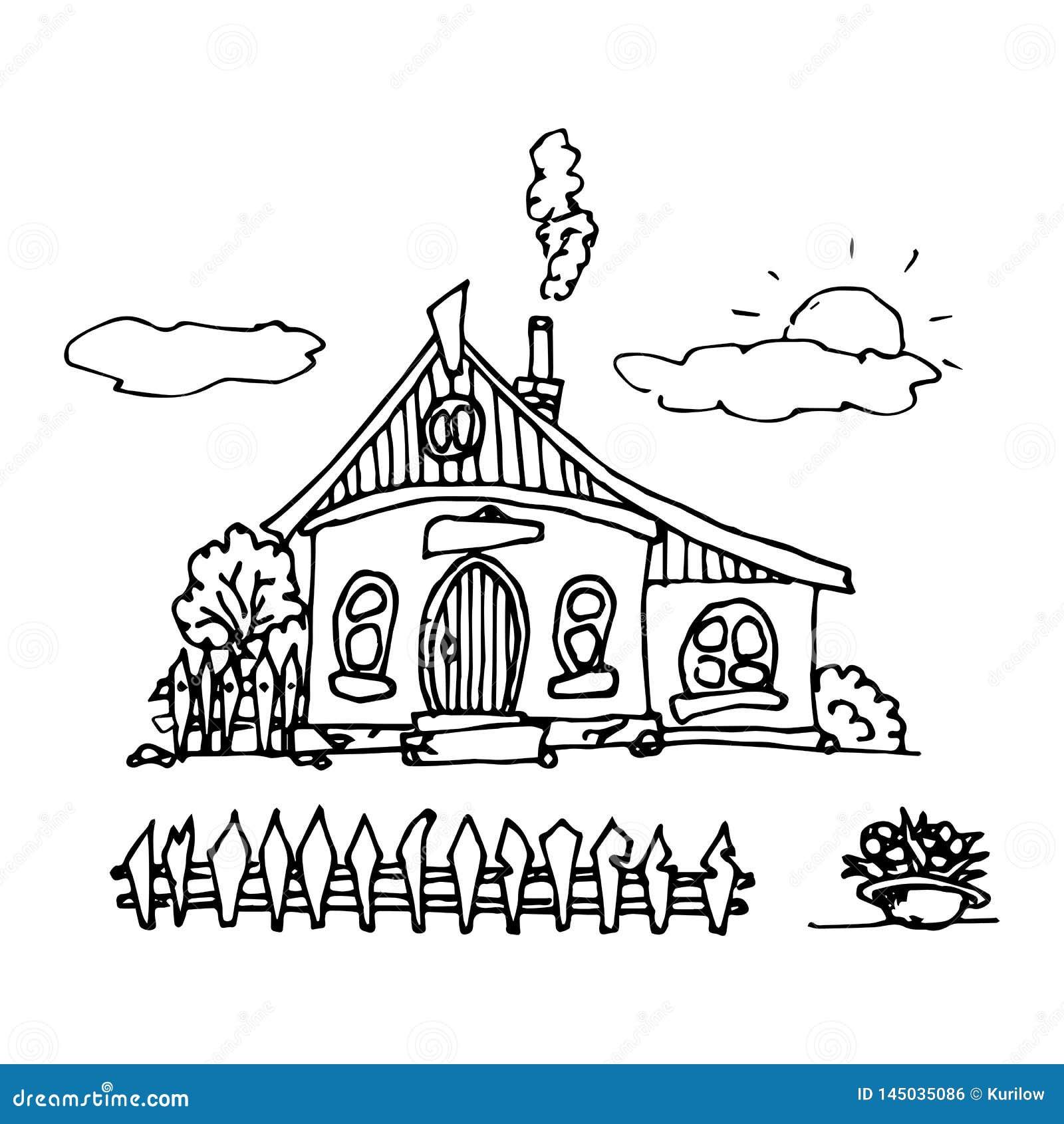 Een hand-drawn huis in een leuke beeldverhaalstijl die wordt geplaatst Oude huizen, stadsgebouwen Creatieve vectorillustratie