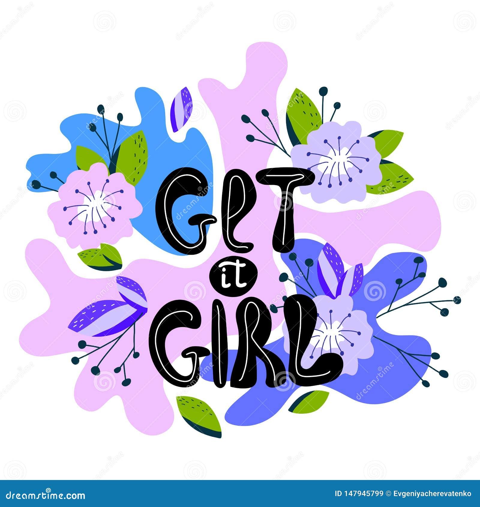 Een hand-drawn illustratie met het van letters voorzien krijgt het meisje Feminismecitaat in vector wordt gemaakt die Vrouwen mot