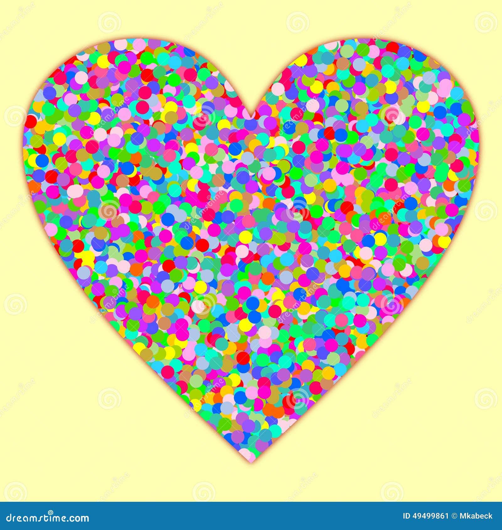 Een hart met confettien die op lichtgeel wordt gevuld