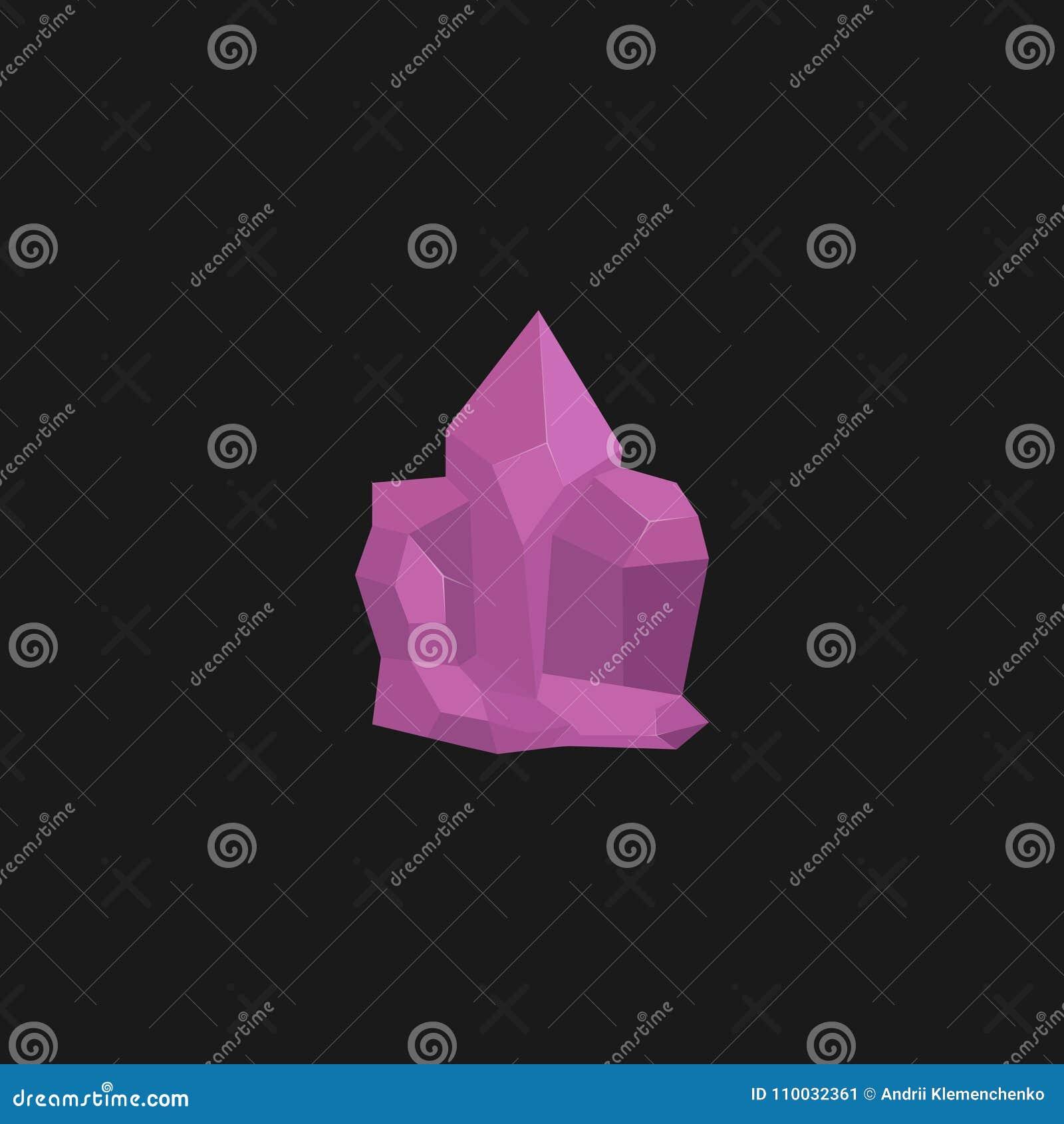 Een heldere roze gem op een zwarte achtergrond Juwelenconcept Vector illustratie