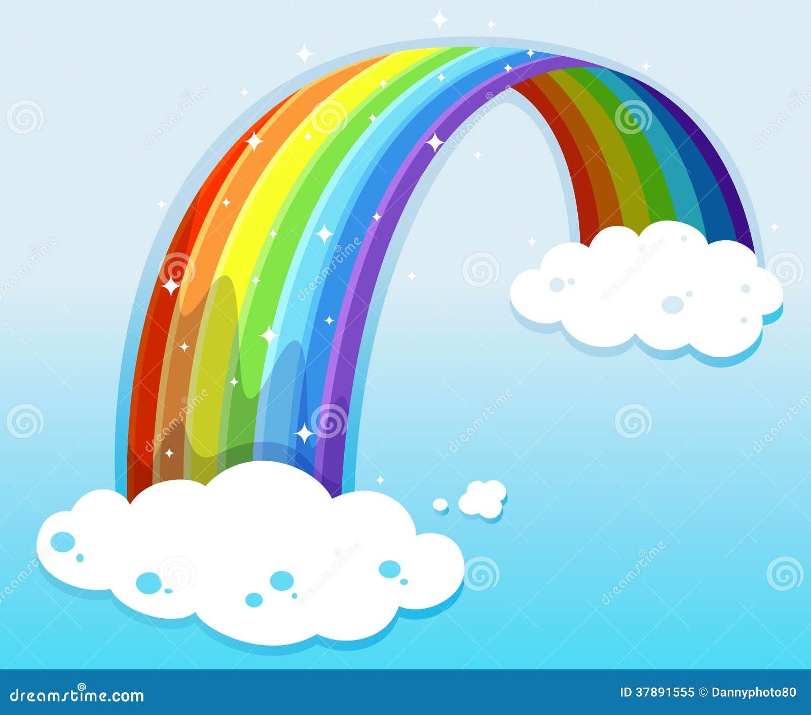 Een hemel met een fonkelende regenboog