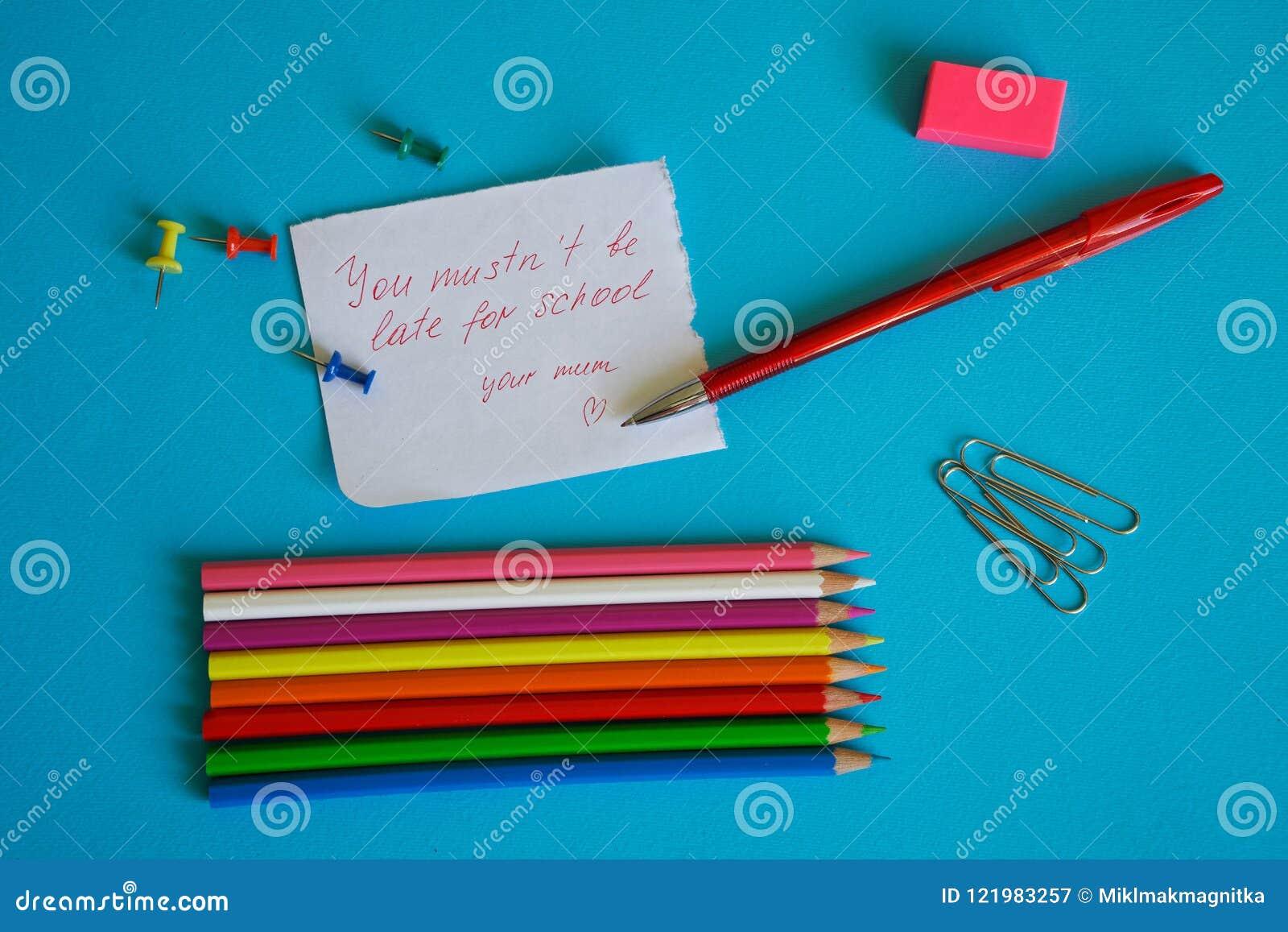 Een herinnering van kinderjaren ` U mustn ` t laat bent voor school `, - een nota voor een schooljongen van een houdende van moed