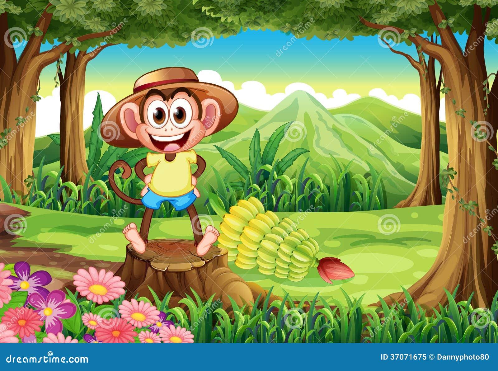 Een het glimlachen aap bij het bos die zich boven de stomp bevinden