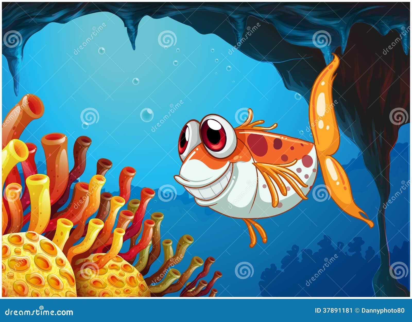 Een het glimlachen vis onder het overzees binnen het hol