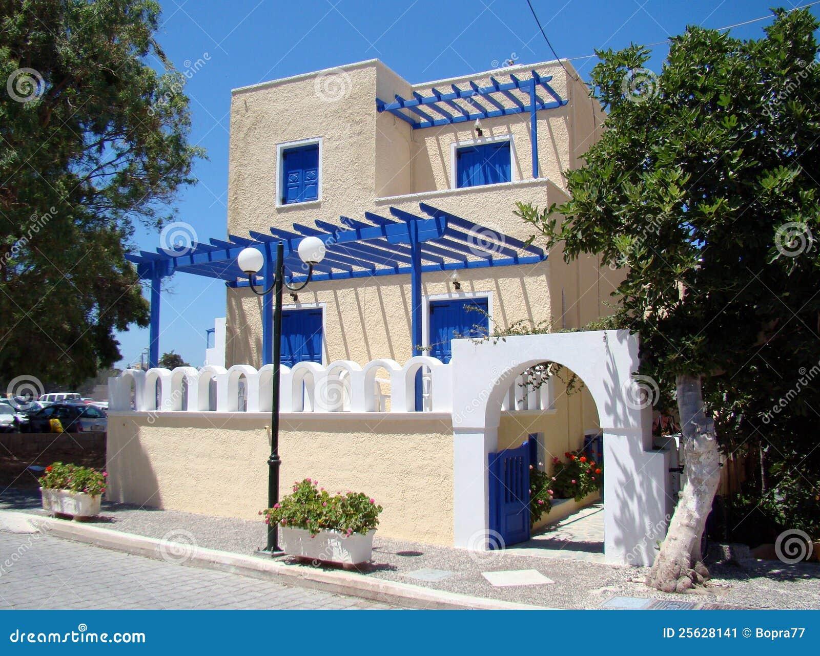 Een Het Moderne Grieks Huis Stock Afbeelding Afbeelding 25628141