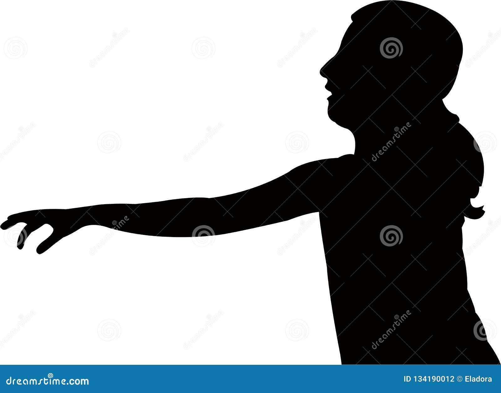 Een het silhouetvector van het meisjeslichaamsdeel