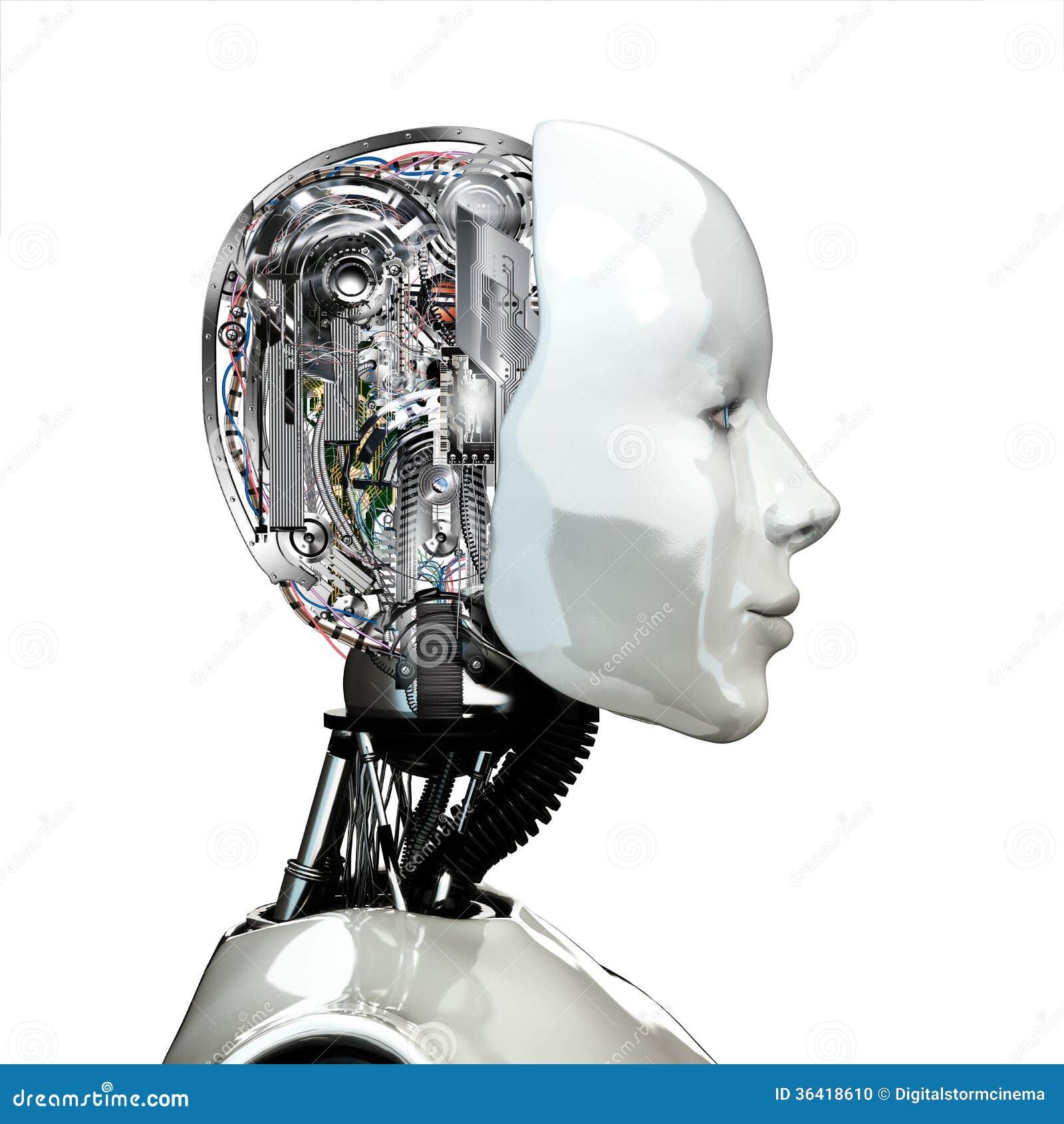 Een hoofd van de robotvrouw met interne technologie