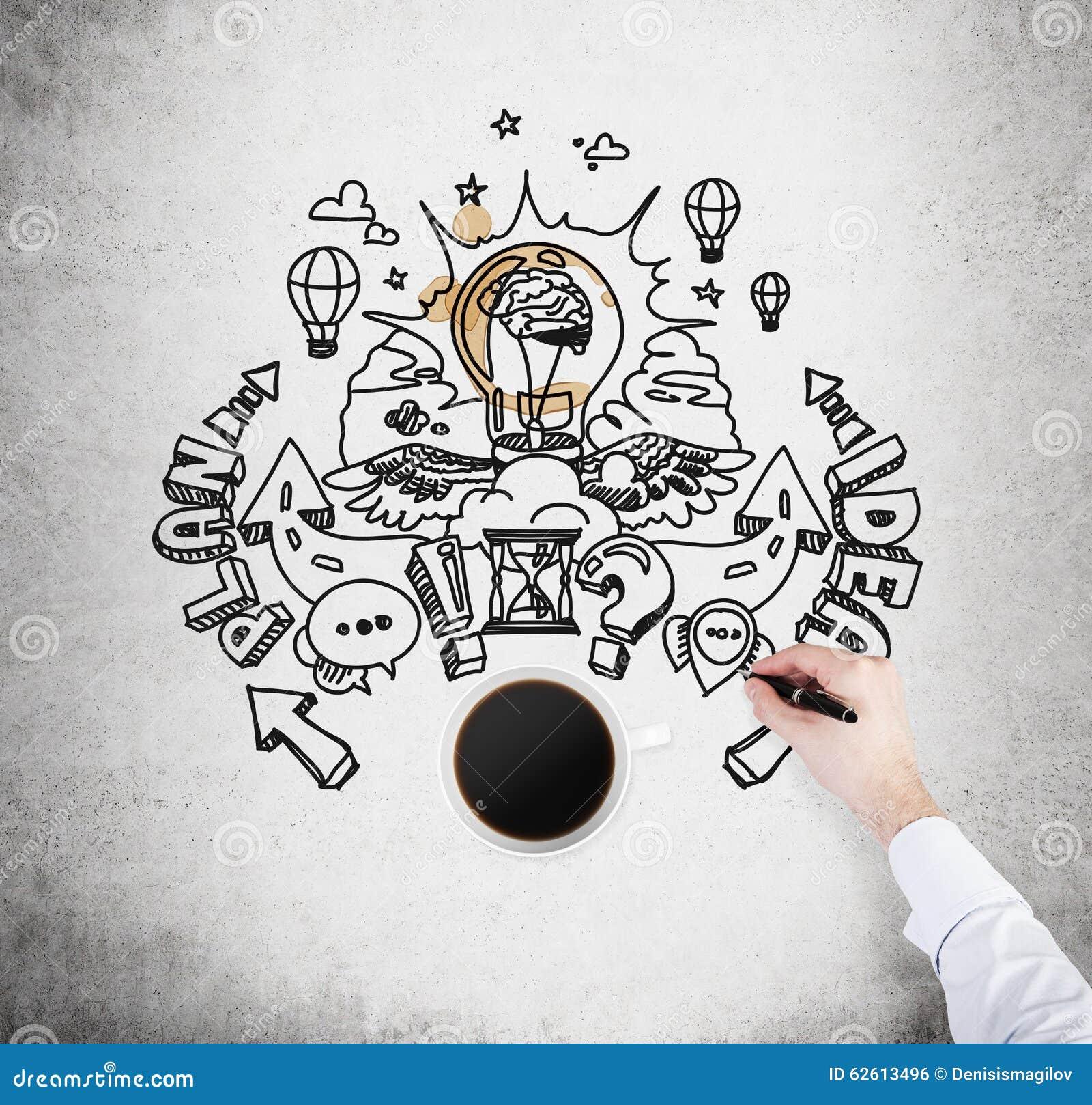 Een hoogste mening van een kop van koffie en een hand die een schets van het ontwikkelen van een nieuw businessplan trekt Een con
