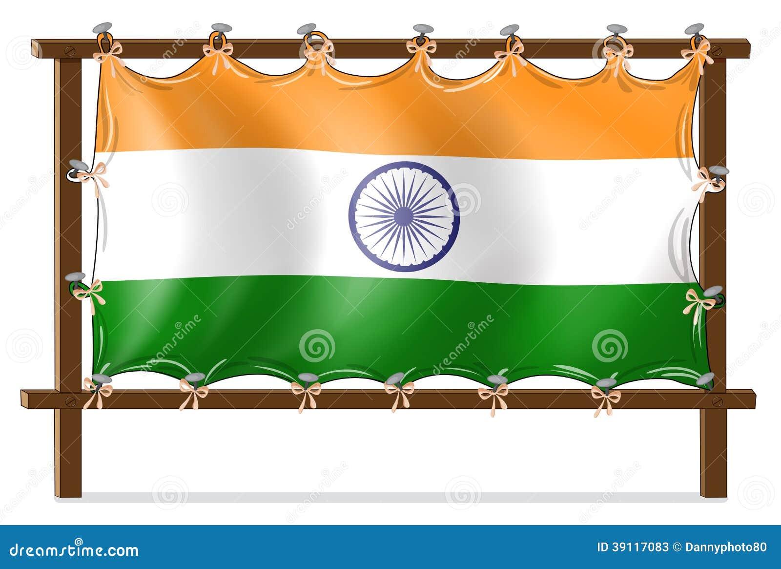 Een houten kader met de vlag van India