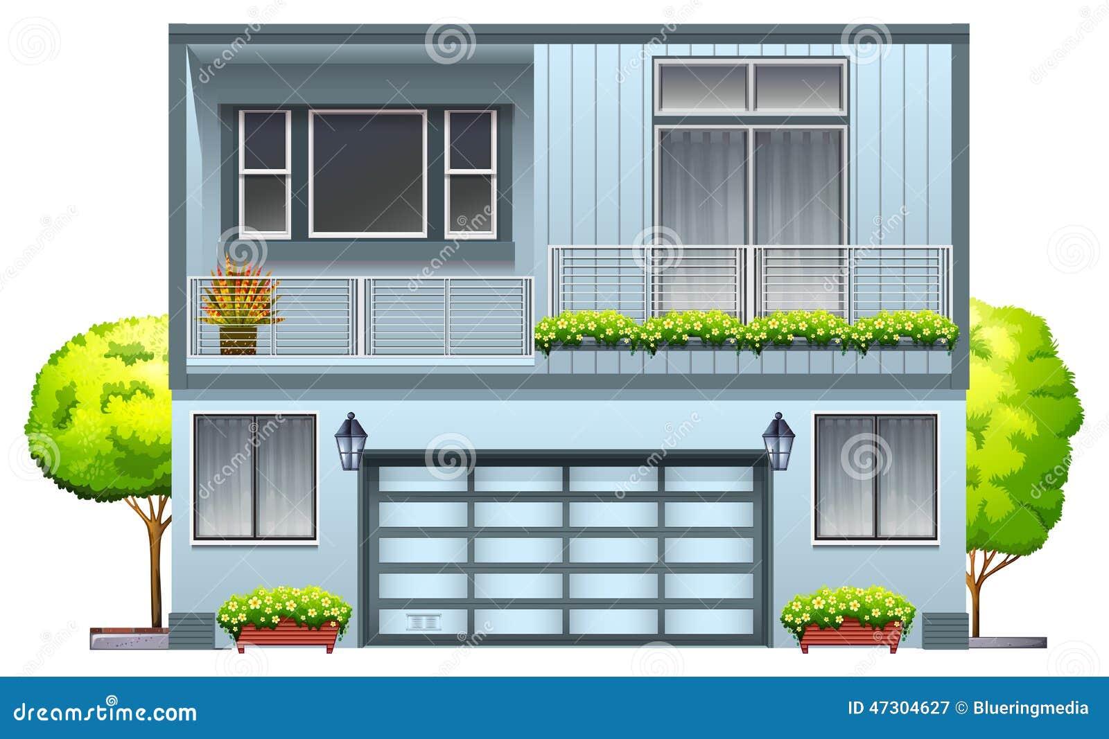 Een huis met balkon vector illustratie afbeelding 47304627 - Terras schuilplaats ...