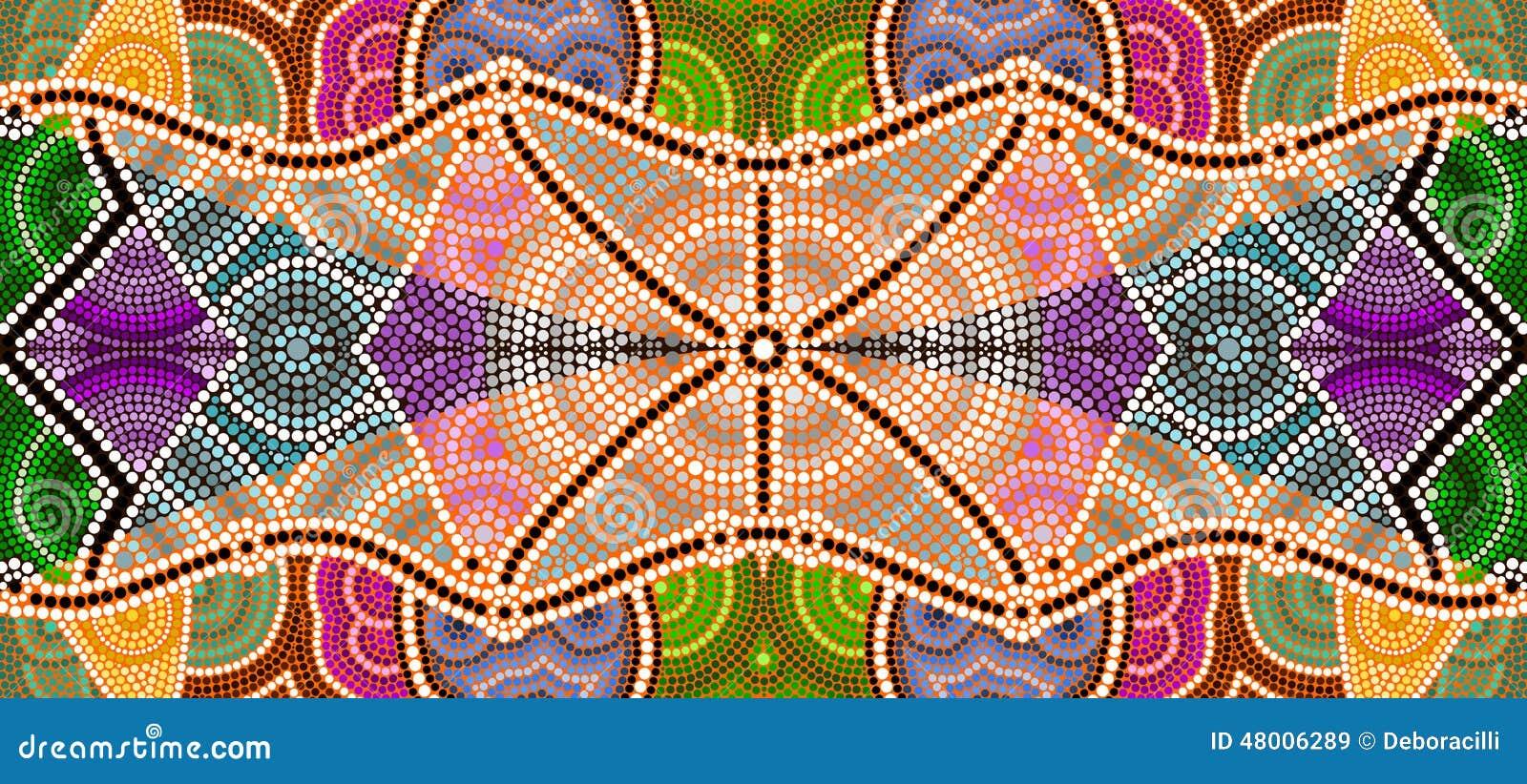 Een illustratie die op inheemse stijl van punt het schilderen depicti wordt gebaseerd
