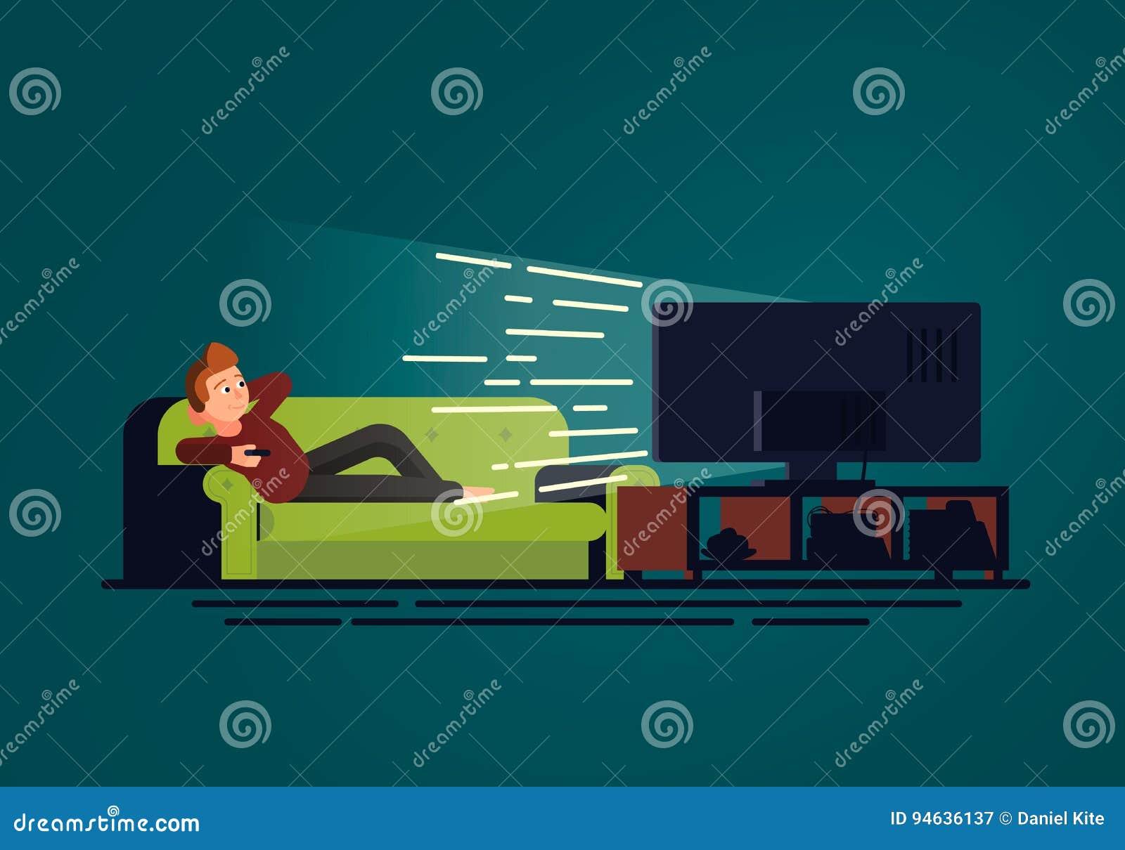 Een illustratie in vlak ontwerp van een mens die op de laag liggen die op TV let Bank en televisietoestel in donkere ruimte op bl