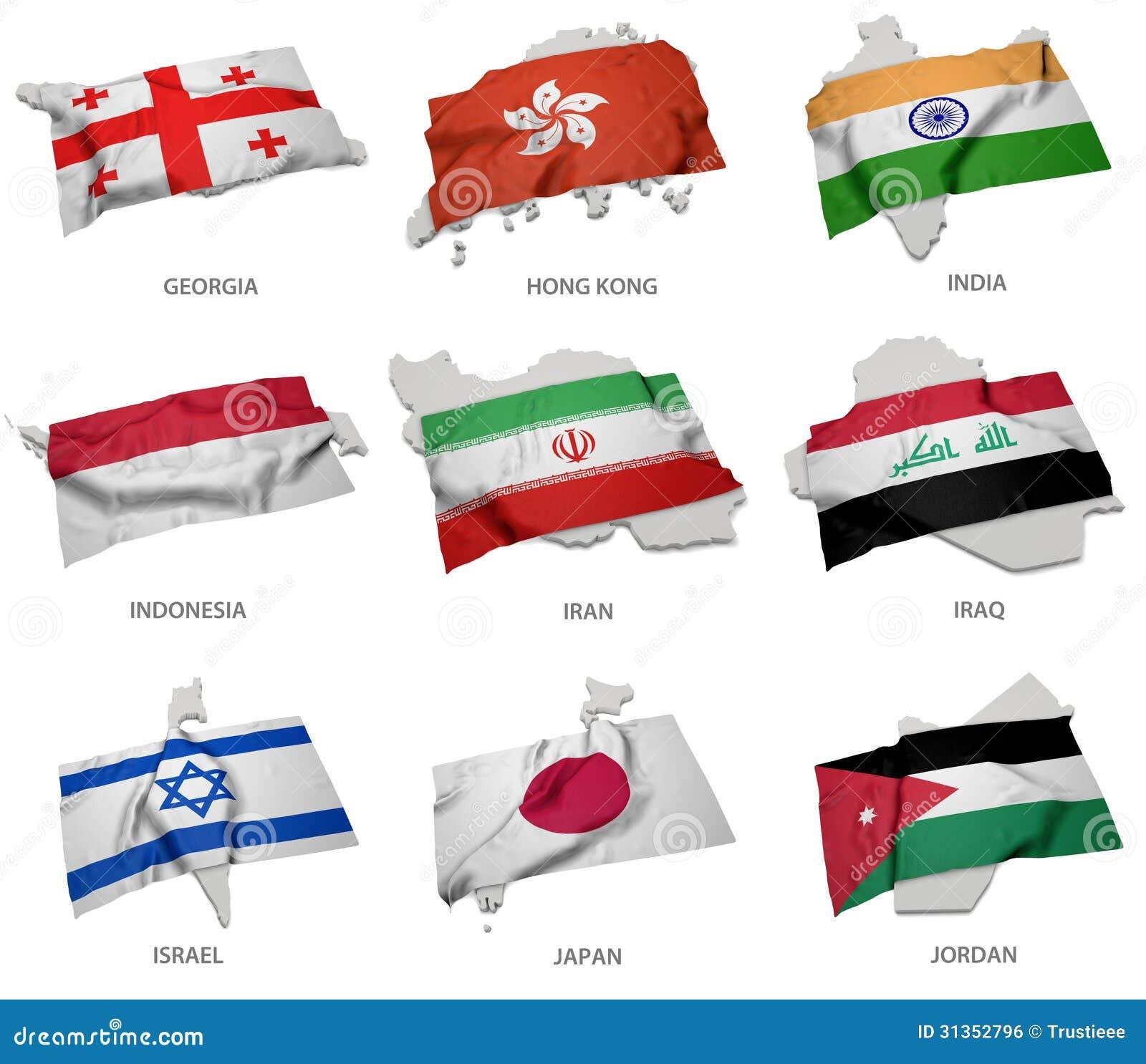 Een inzameling van de vlaggen die de overeenkomstige vormen van sommige Aziatische staten behandelen
