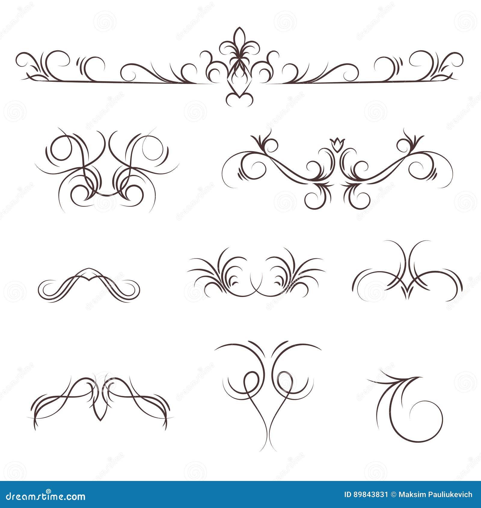 Een inzameling van vector decoratieve monogrammen en kalligrafische grenzen
