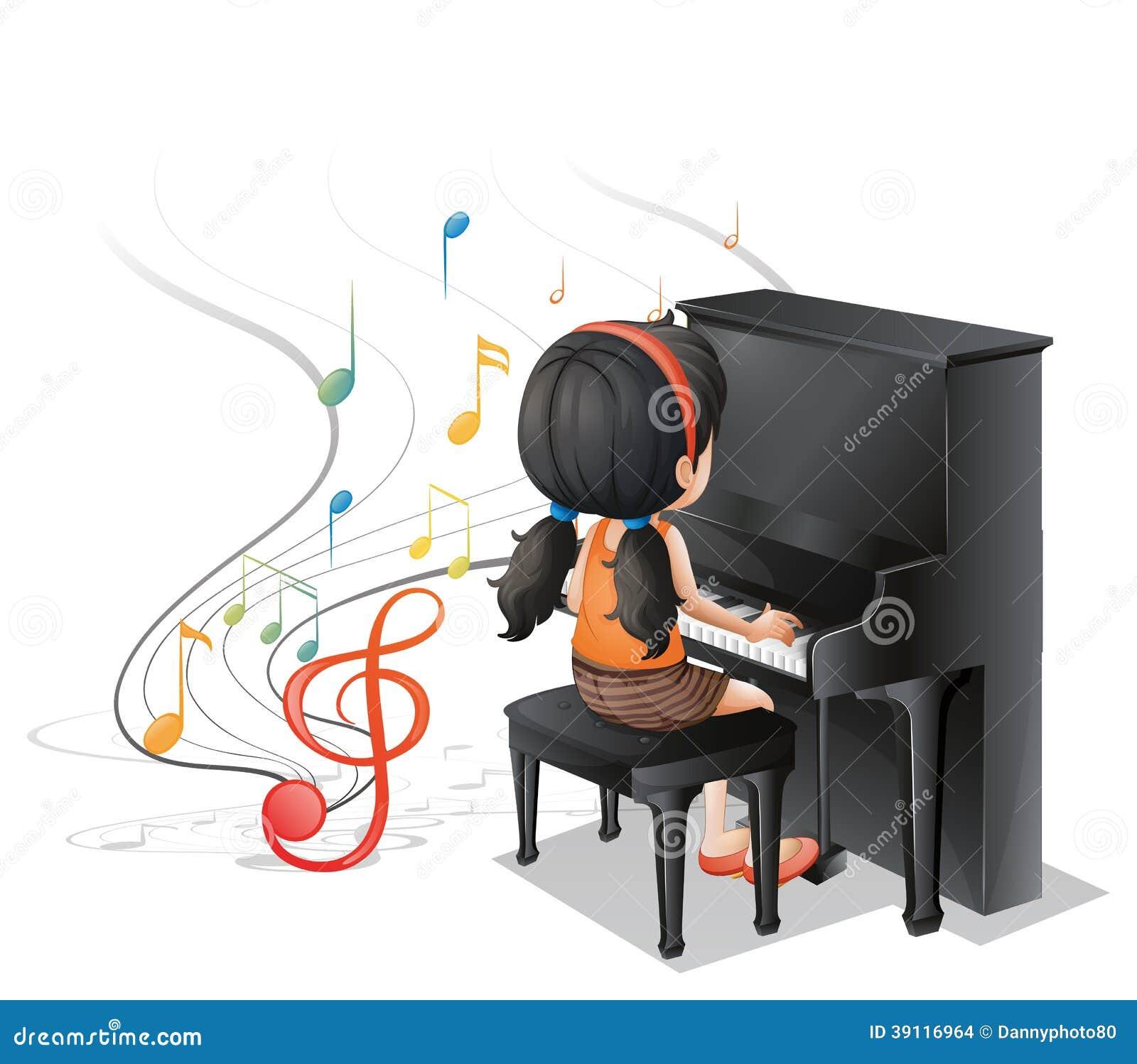 Een jong meisje die met de piano spelen