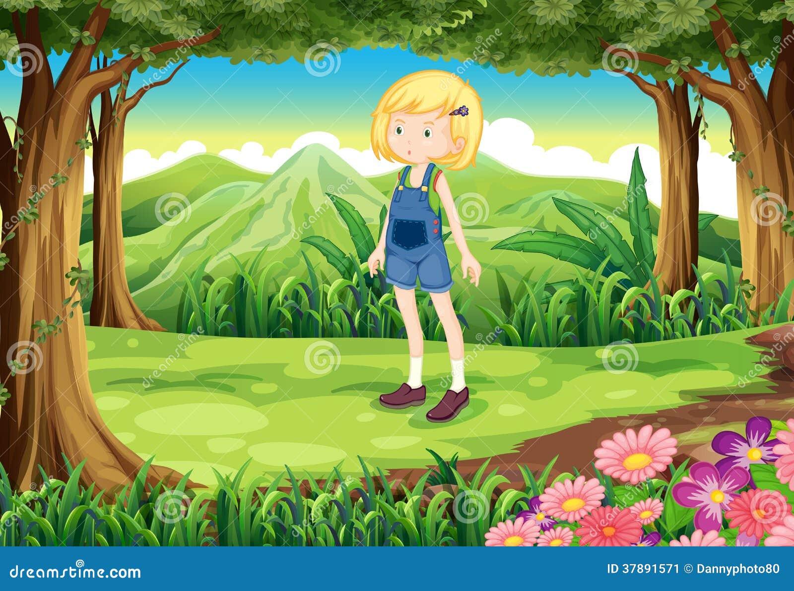 Een jonge dame bij het bos