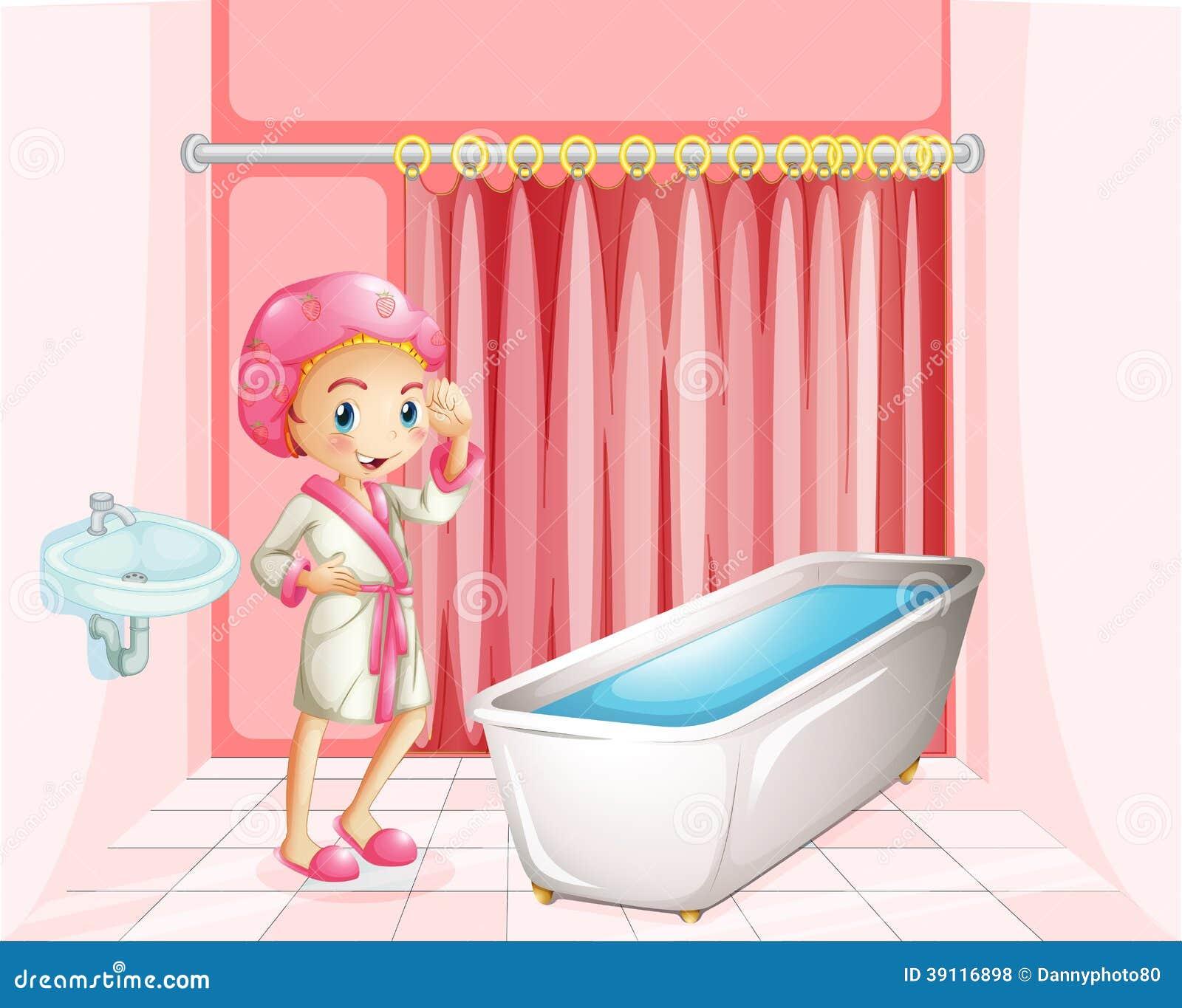Een jonge dame die een bad in de badkamers nemen