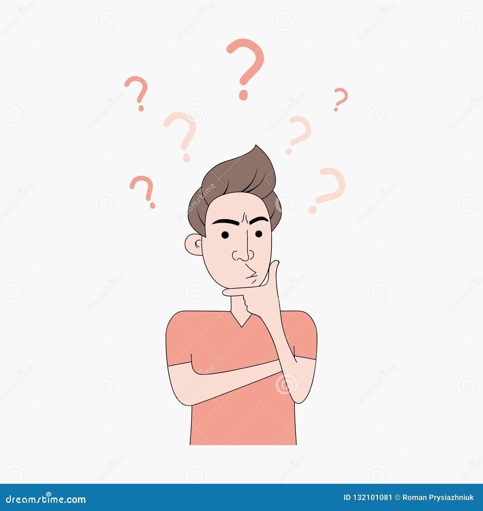 Een jonge mens denkt door een vinger op zijn kin toe te passen Het mannetje denkt met vraagteken en verontruste uitdrukking Vecto